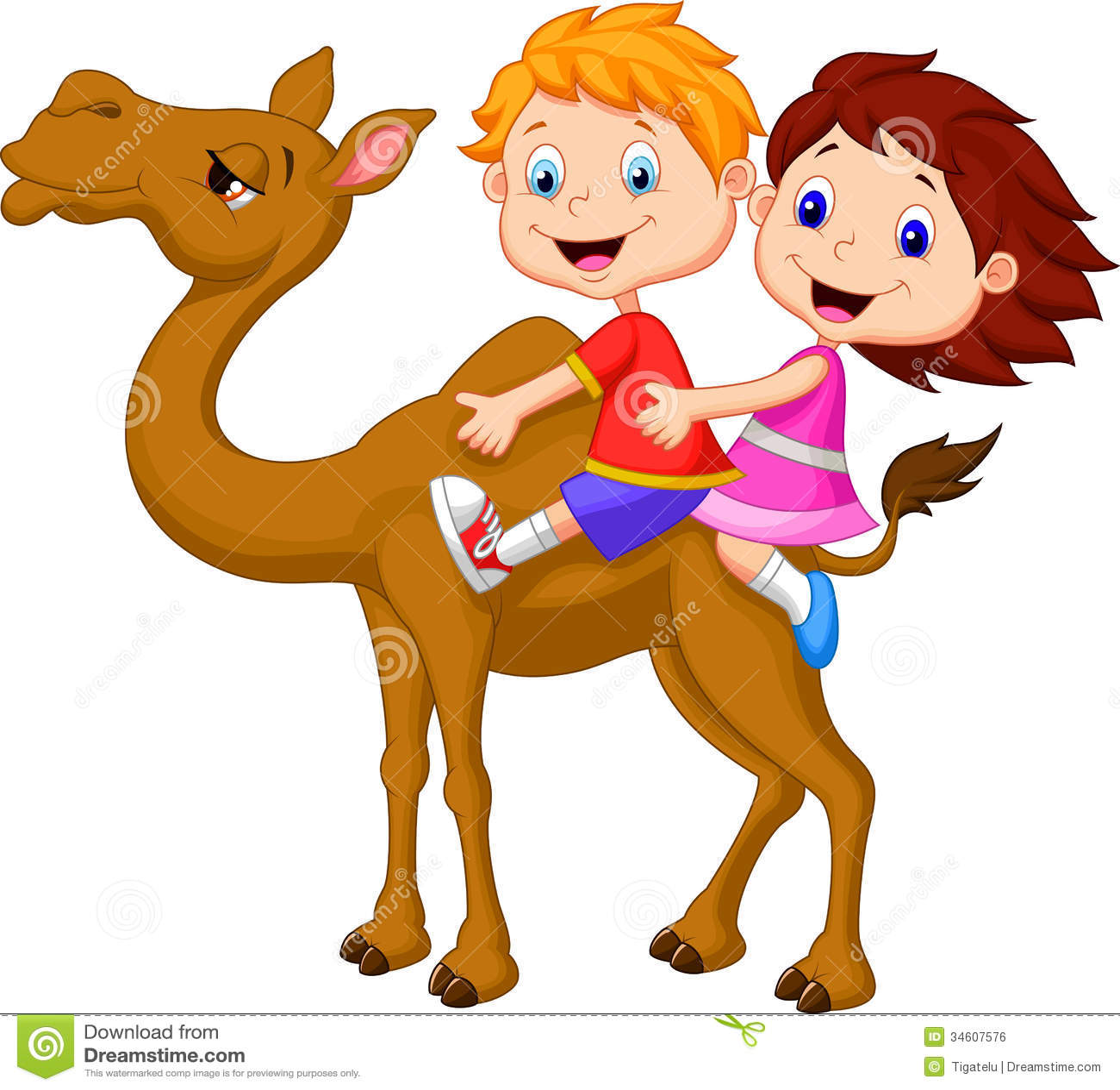 Cartoon Boy And Girl Riding Camel Royalty Free Stock Image