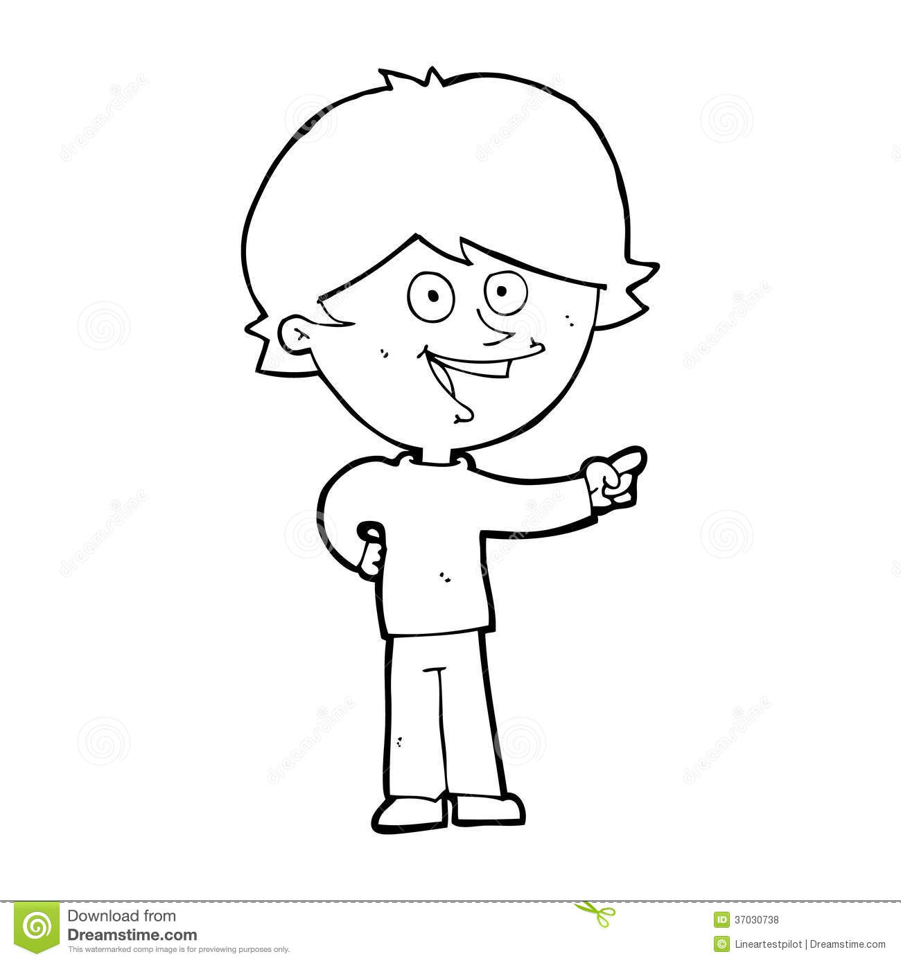 Cartoon Boy Laughing And Pointing Royalty Free Stock