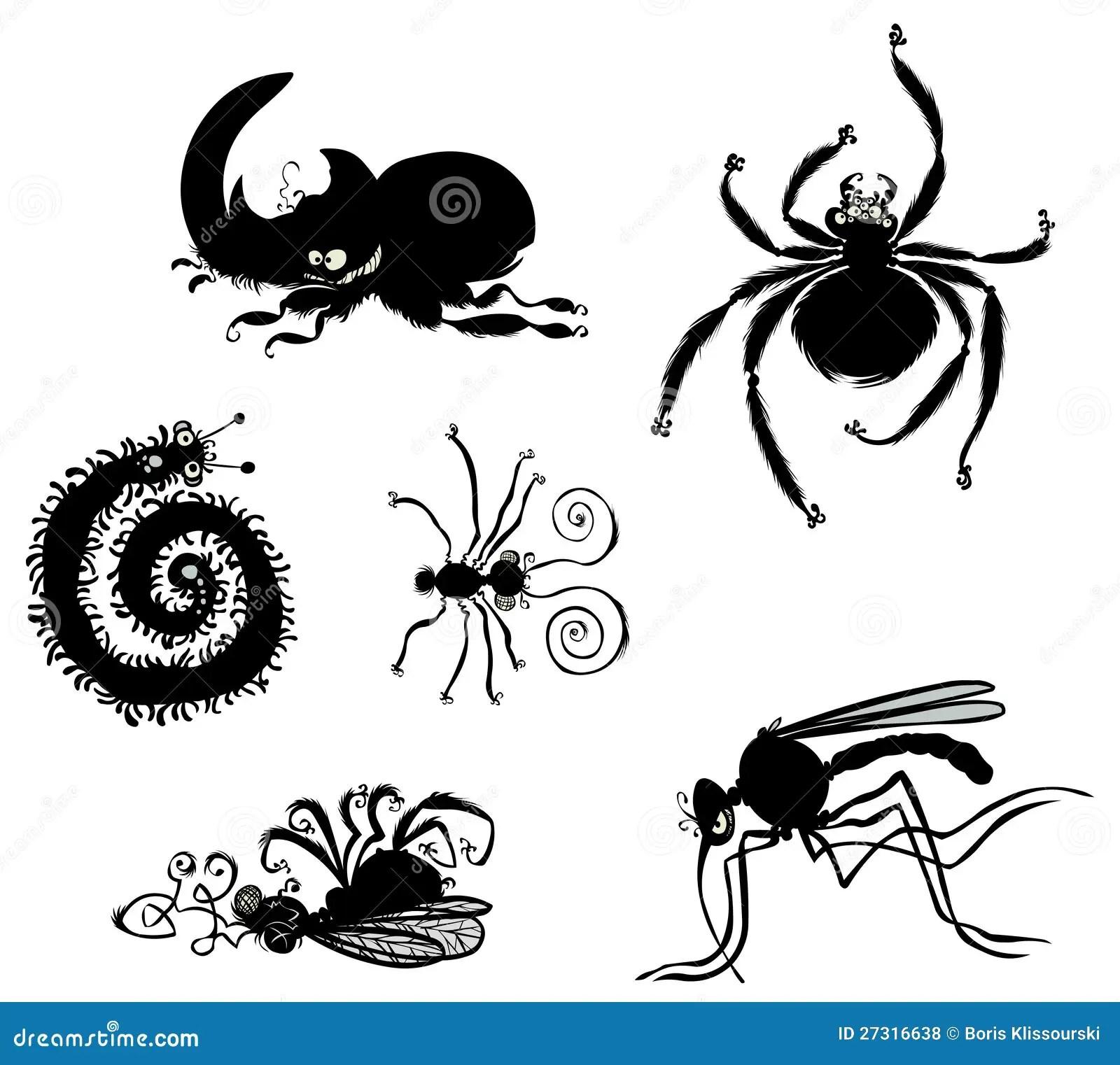 Cartoon Bugs Silhouettes Stock Illustration Illustration