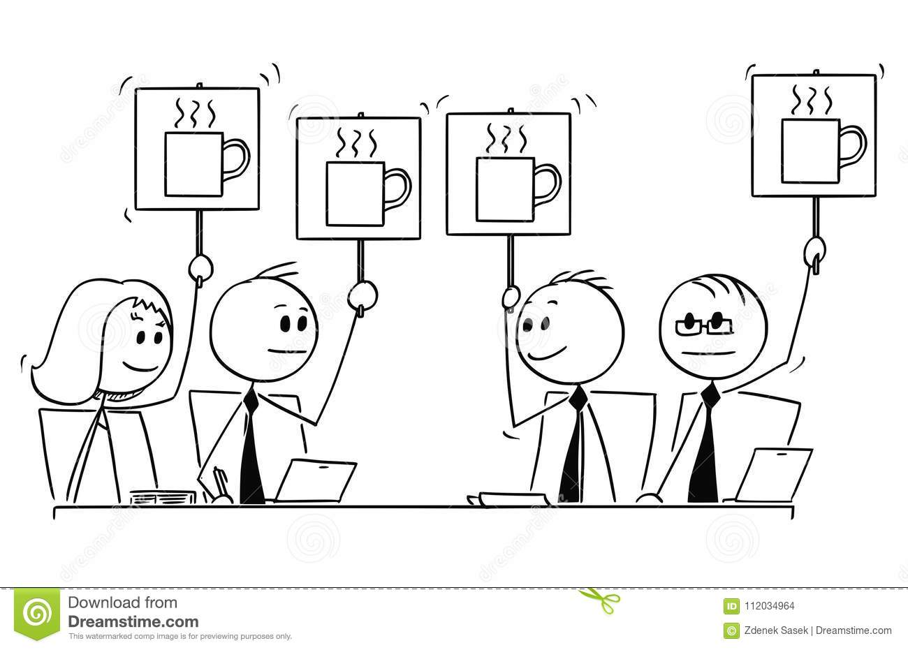 Cartoon Of Business Team Or People Meeting Voting For