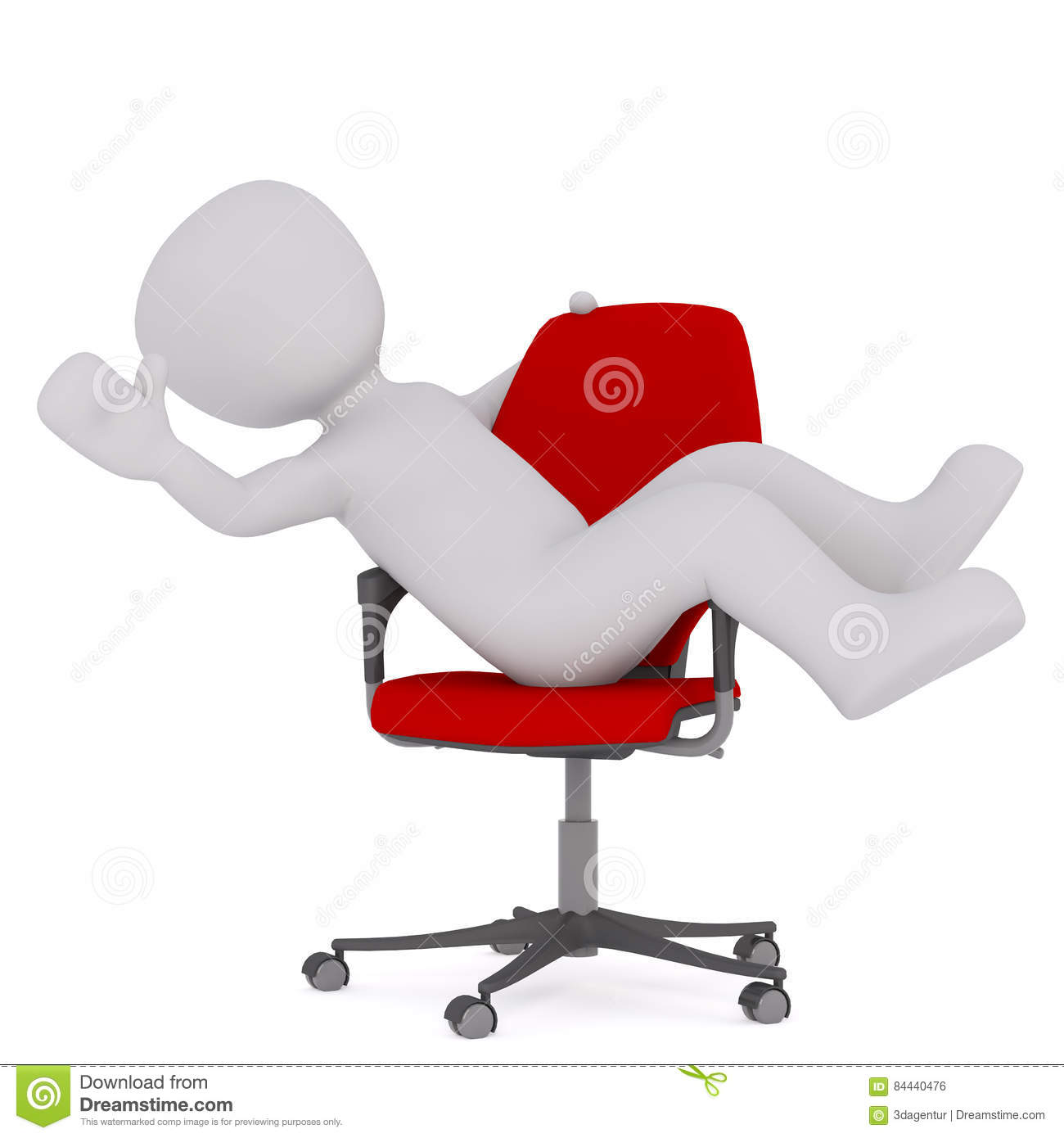 Cartoon Businessman Reclining In Red Office Chair Stock