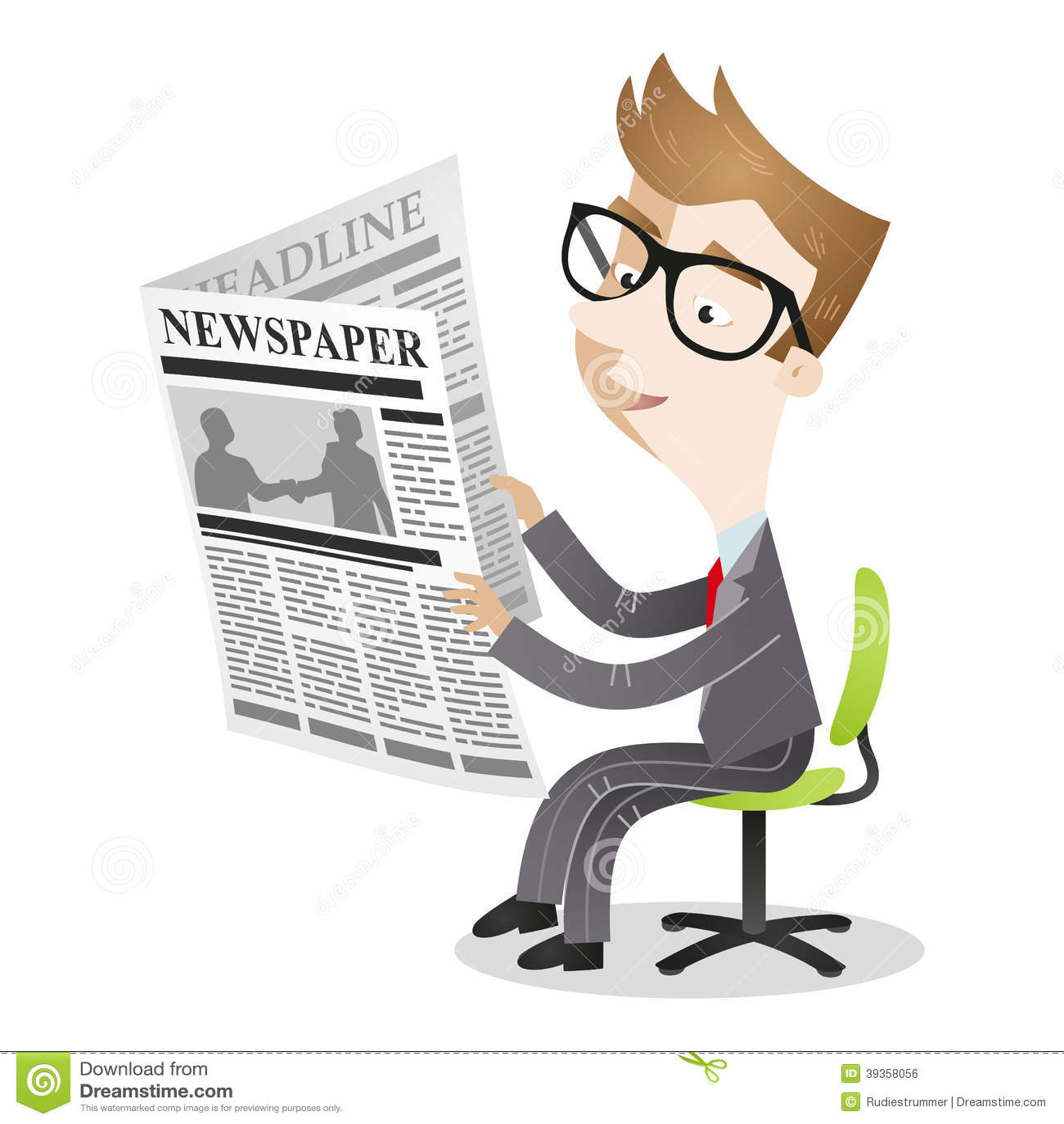 Cartoon Businessman Sitting Office Chair Reading Newspaper
