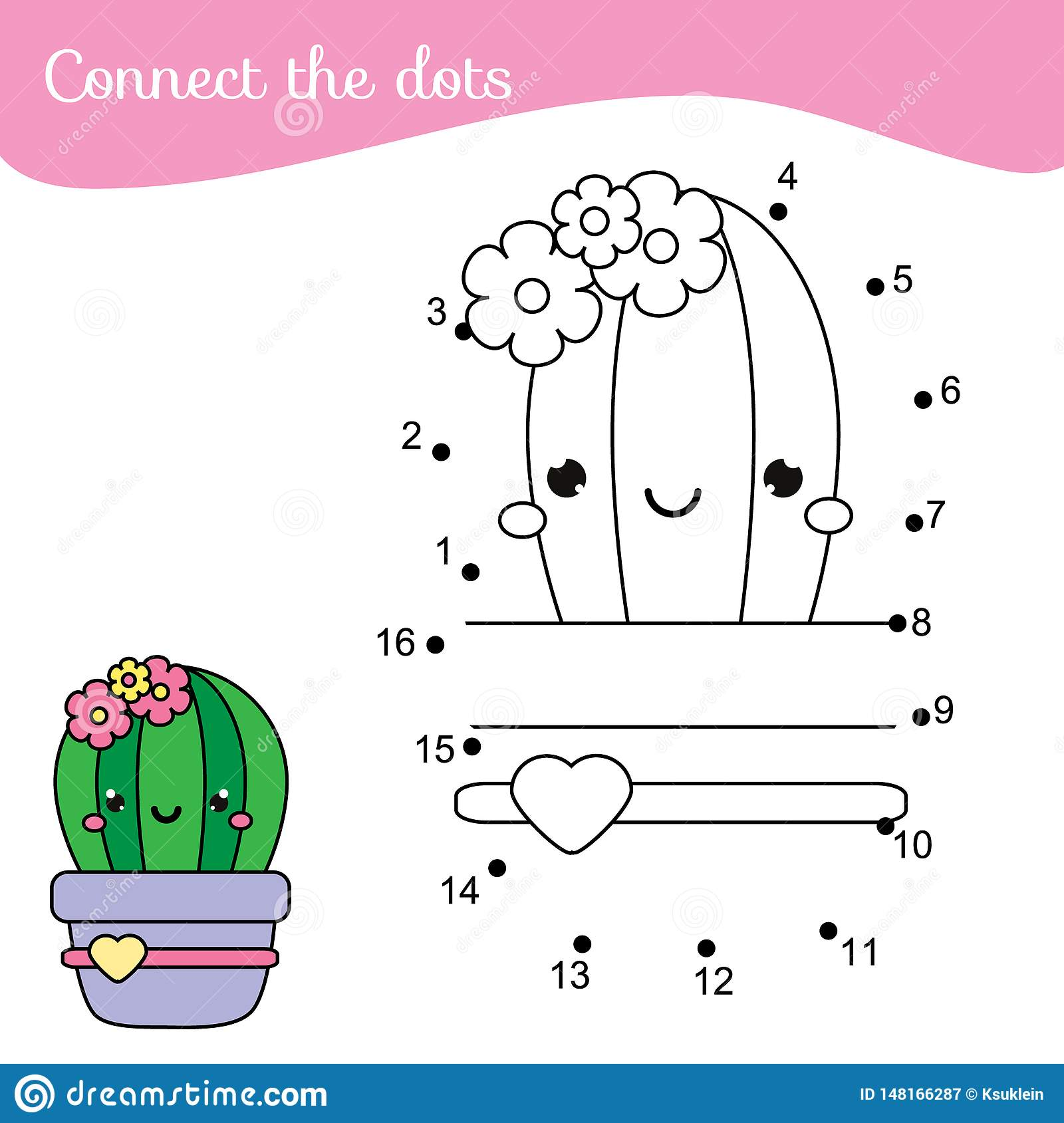 Cartoon Cactus Connect The Dots Dot To Dot By Numbers
