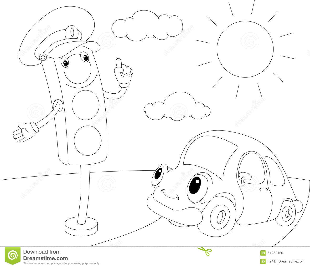 Cartoon Car And Traffic Lights Coloring Book For Kids
