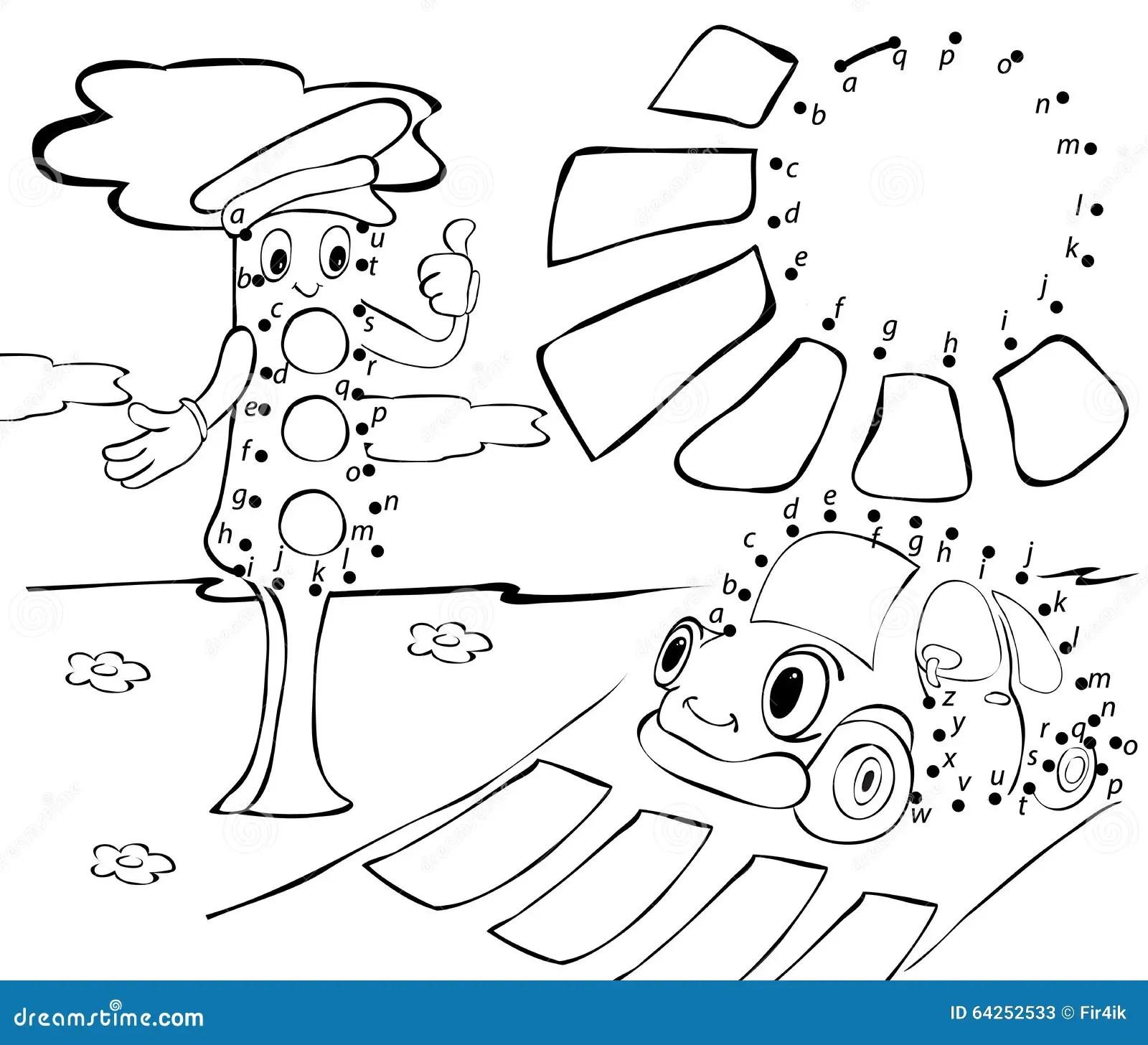 Cartoon Car Traffic Lights And Sun Vector Illustration Cartoon Vector