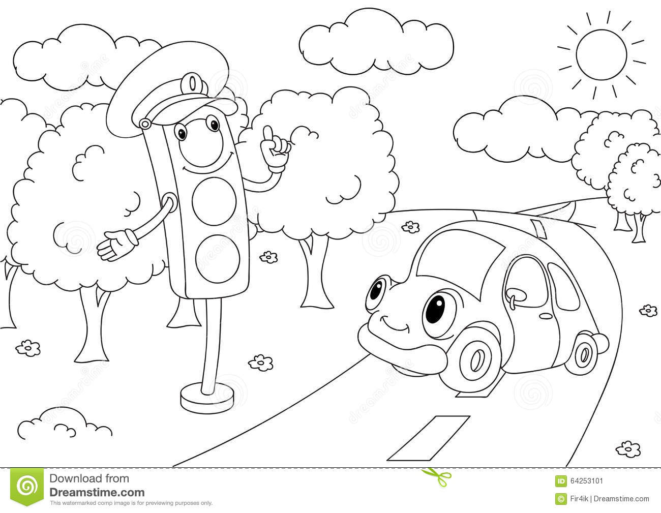Simple Street Light Coloring Pages