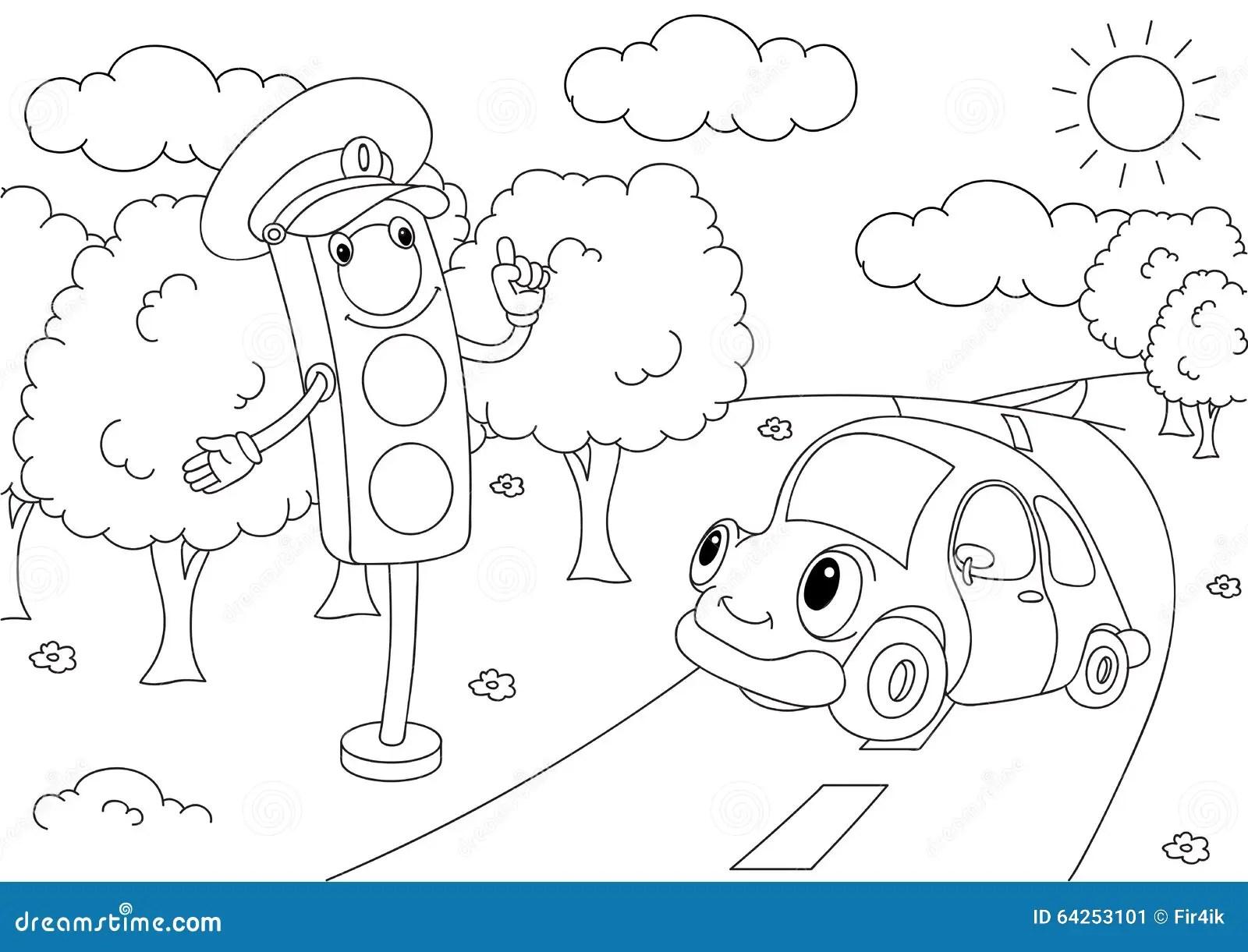 Cartoon Car With Traffic Lights Stock Vector