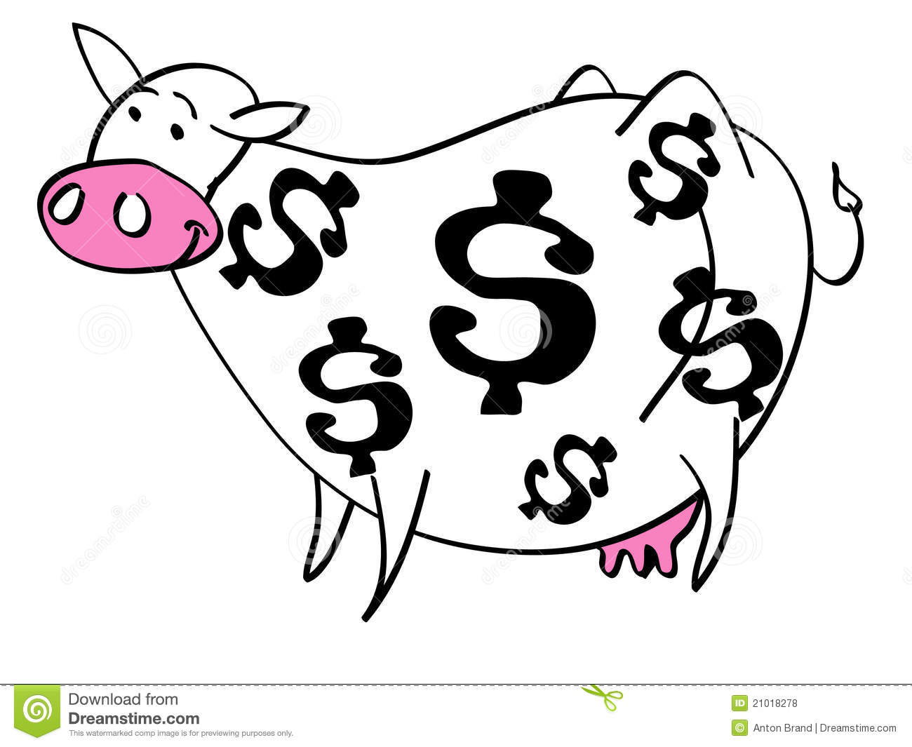 Cartoon Of Cash Cow With Dollar Signs On Her Coat Stock