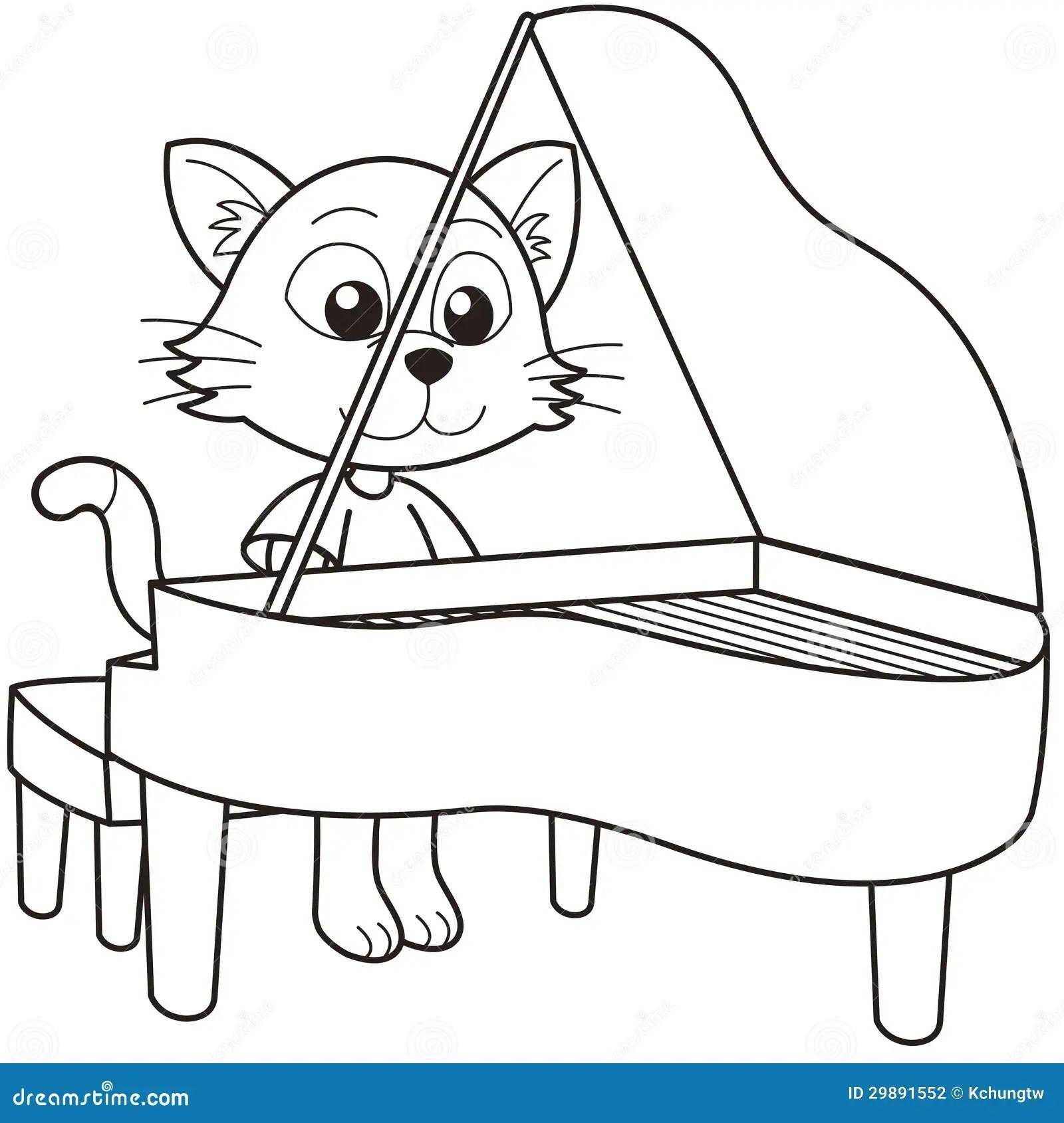 Cartoon Cat Playing A Piano Stock Photography