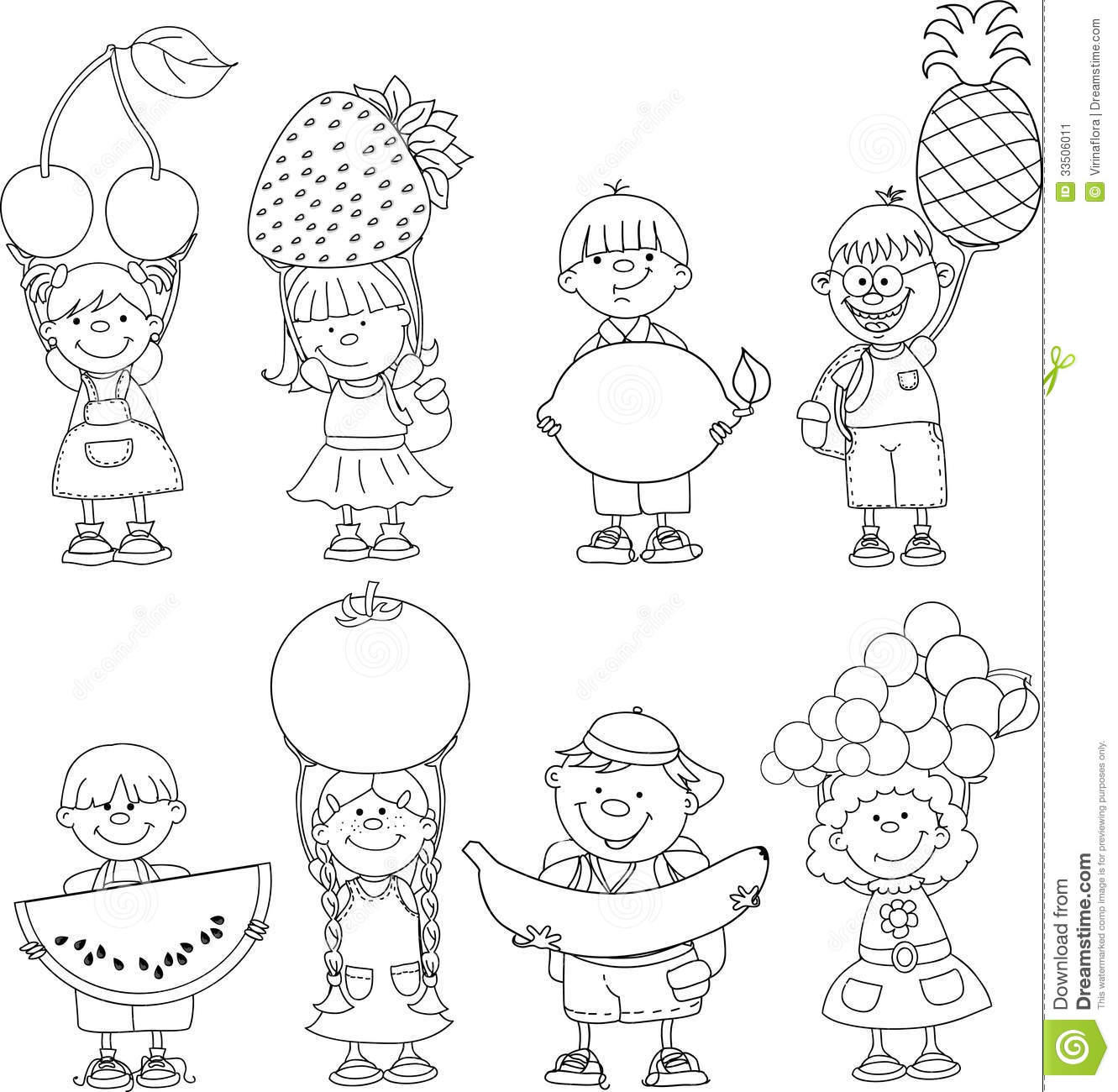 Cartoon Children With Fruits Vector Stock Vector