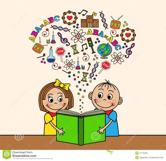 Cartoon Children Read A Book Stock Vector - Illustration ...