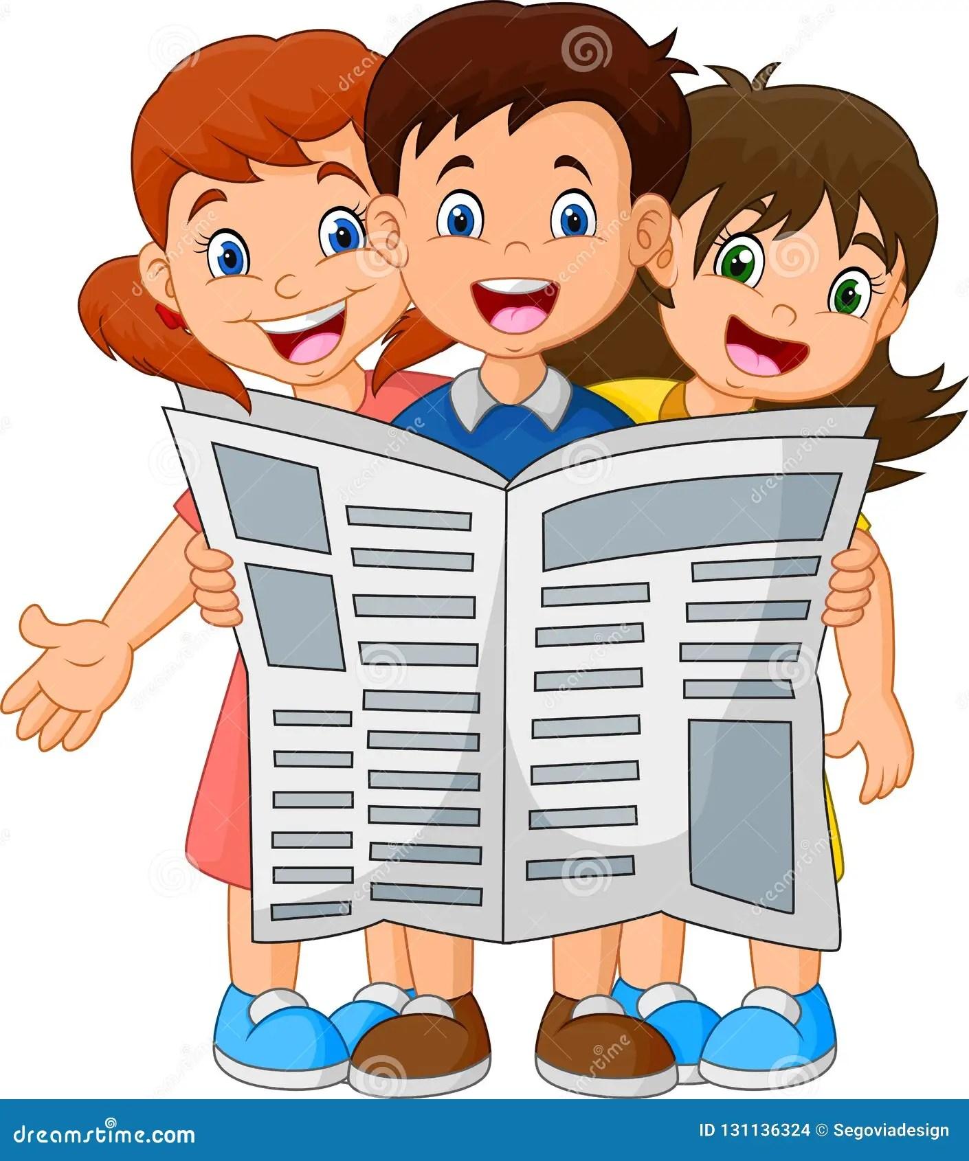 Cartoon Children Reading A Newspaper Stock Vector