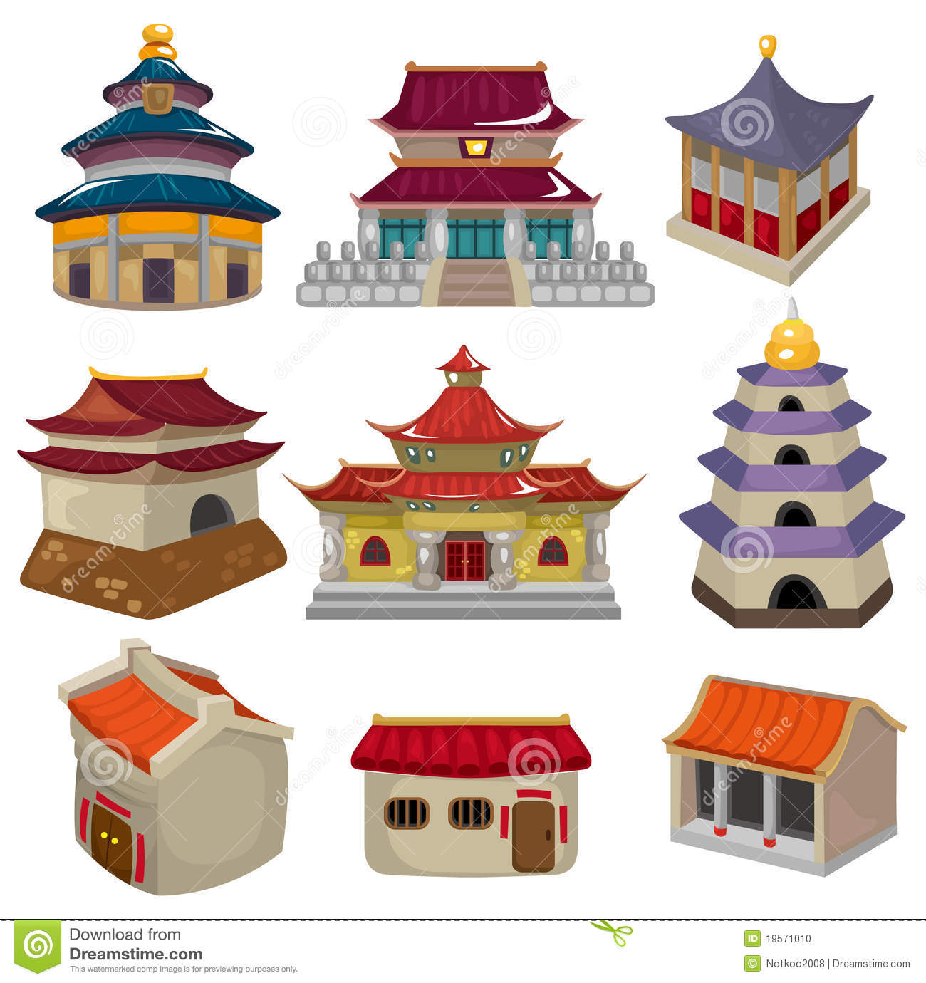 Cartoon Chinese House Icon Set Stock Vector