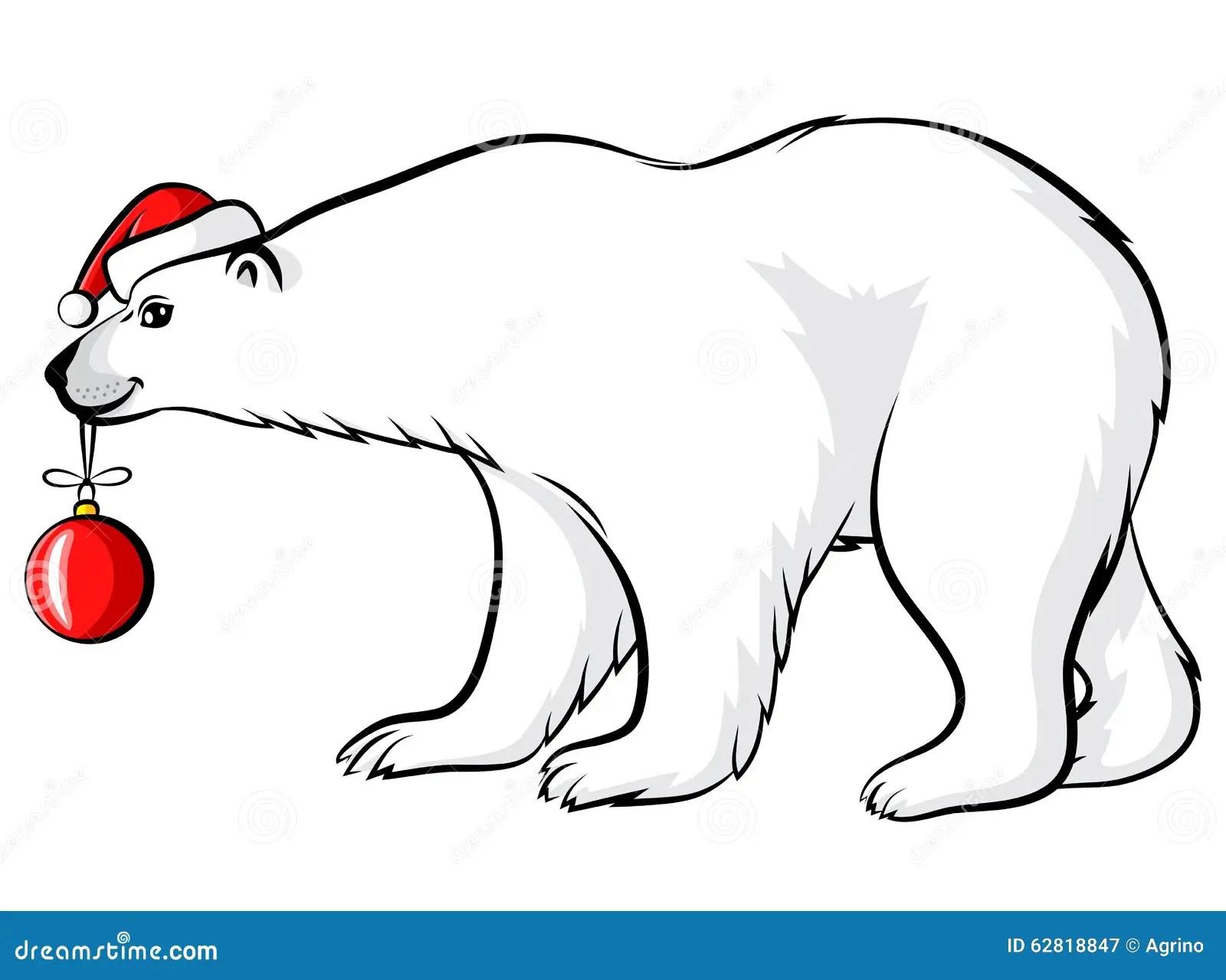 Cartoon Christmas Polar Bear Stock Vector
