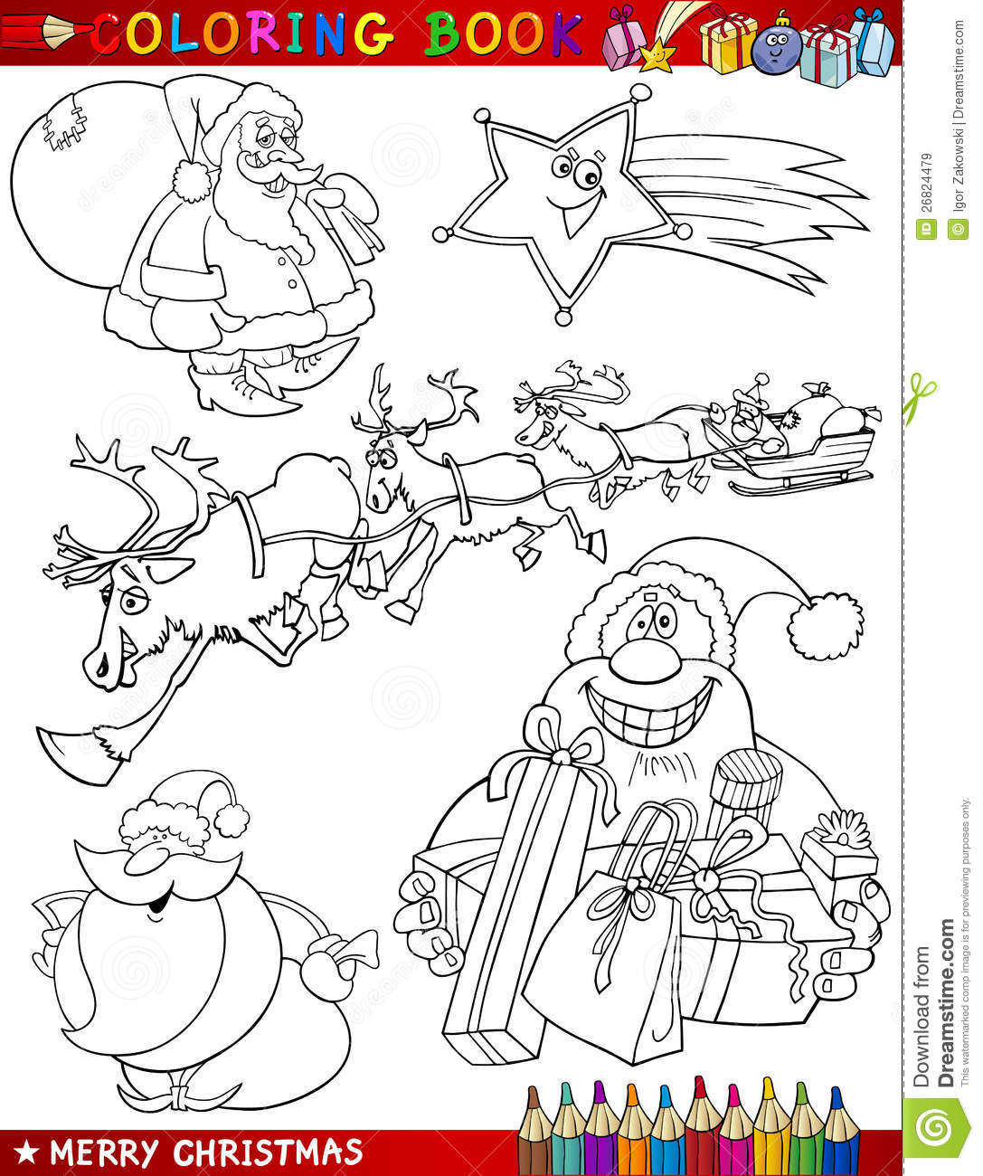 Cartoon Christmas Themes For Coloring Stock Vector