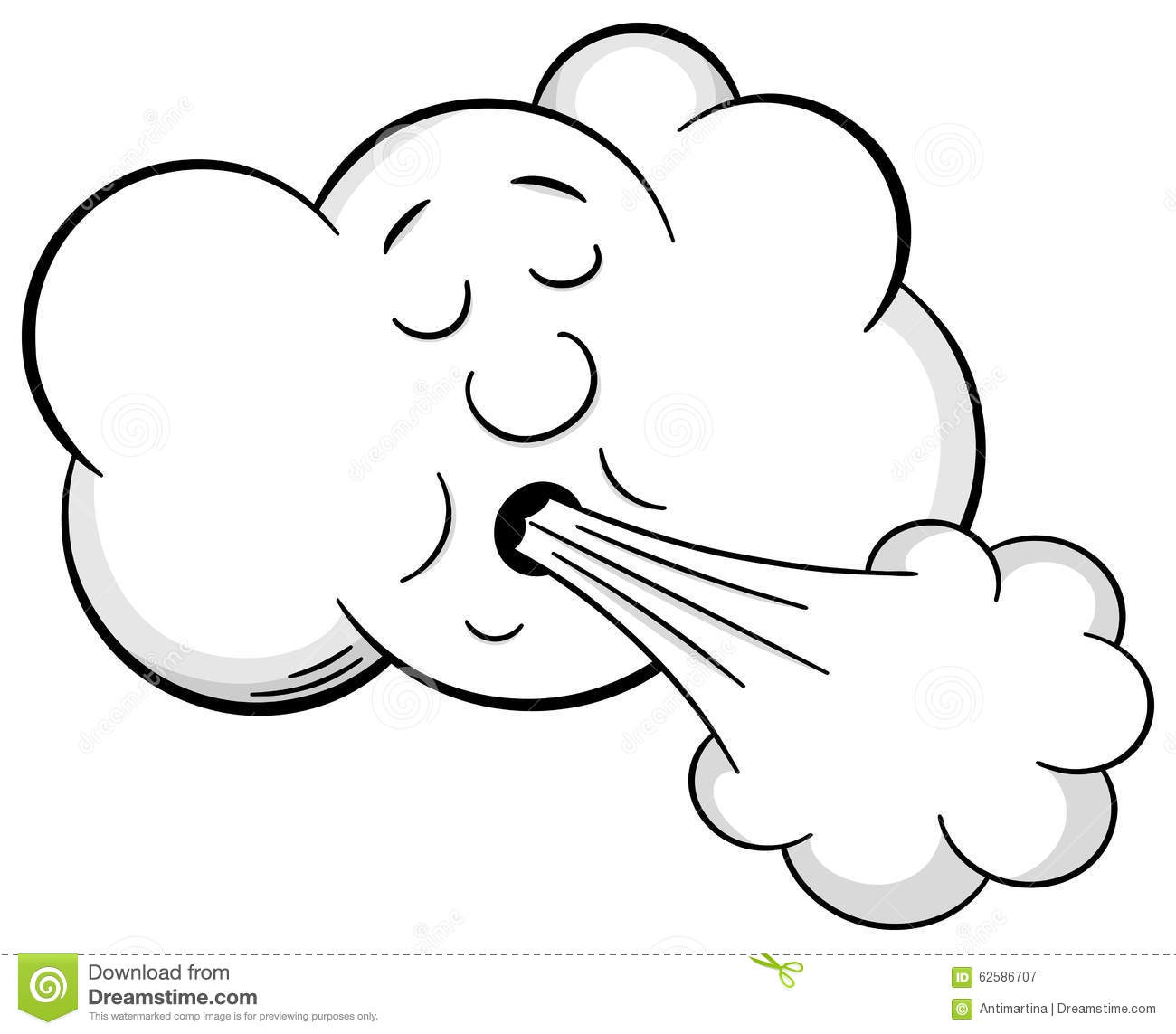 Wind Blows From The Cloud Cartoon Vector