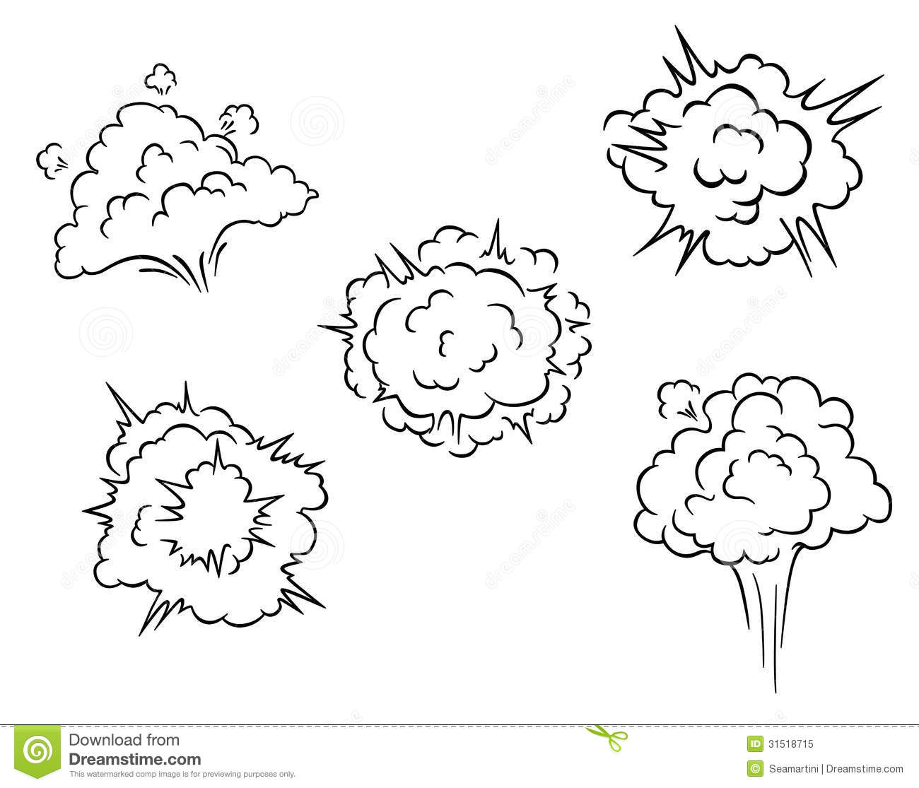 Cartoon Clouds And Explosions Stock Vector