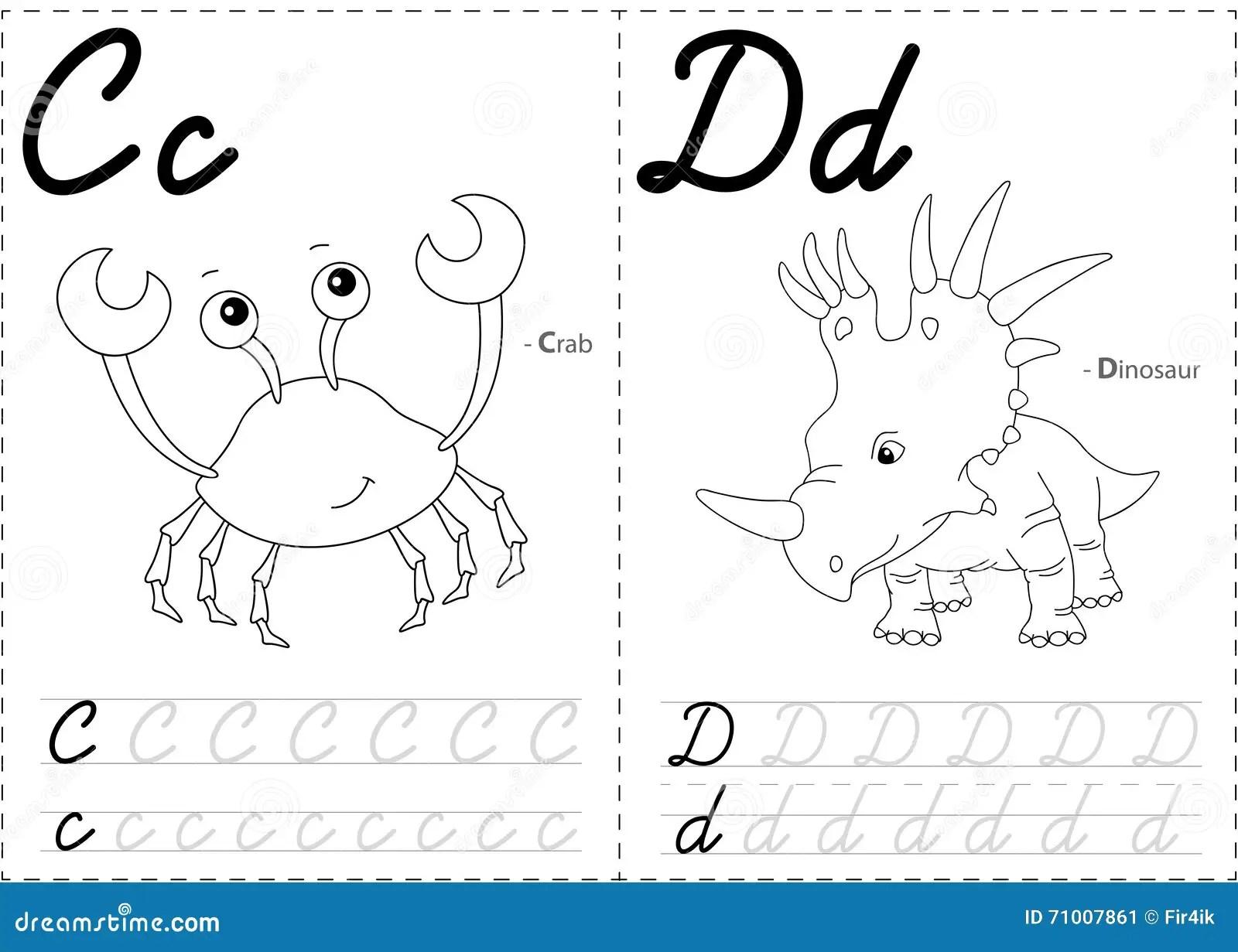 Cartoon Crab And Dinosaur Alphabet Tracing Worksheet