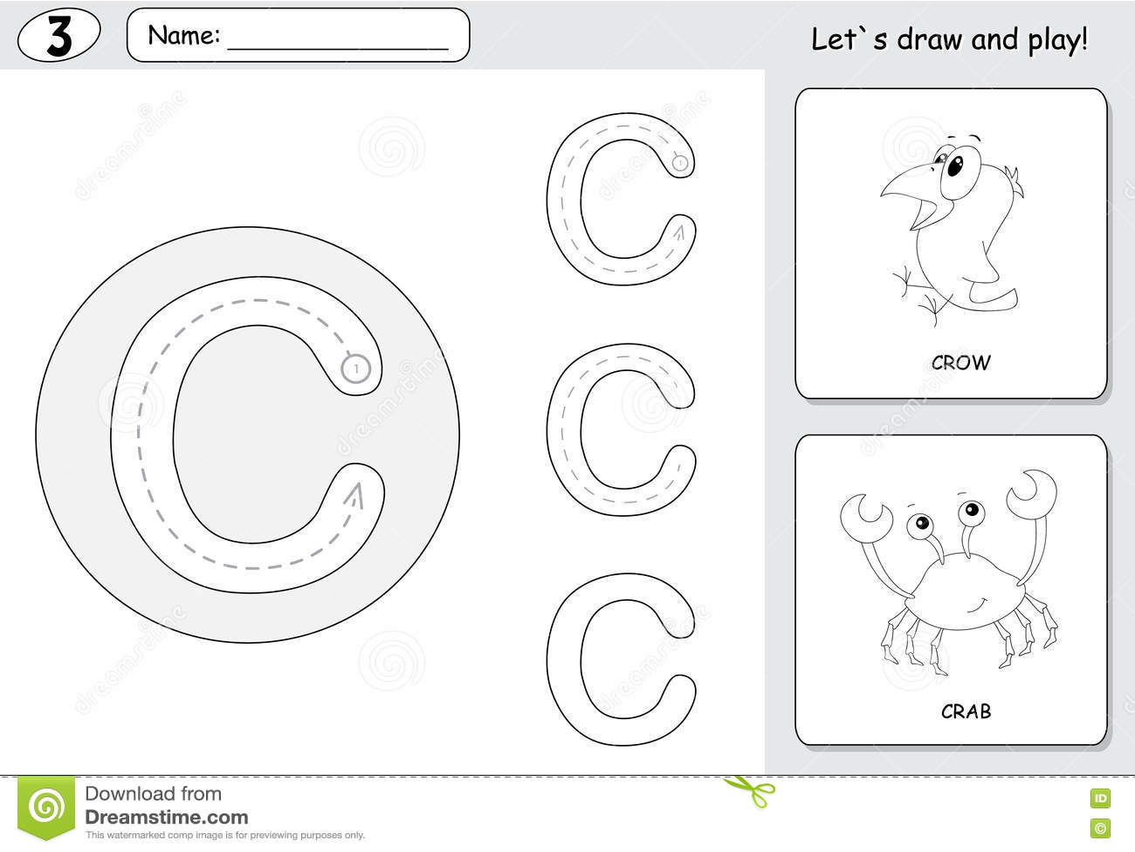 Cartoon Crow And Crab Alphabet Tracing Worksheet Writing