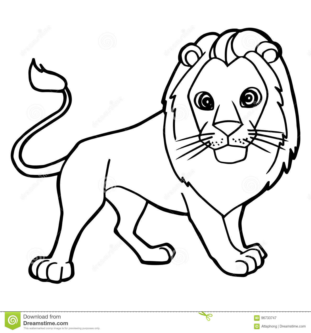 Cartoon Cute Lion Coloring Page Vector Stock Vector