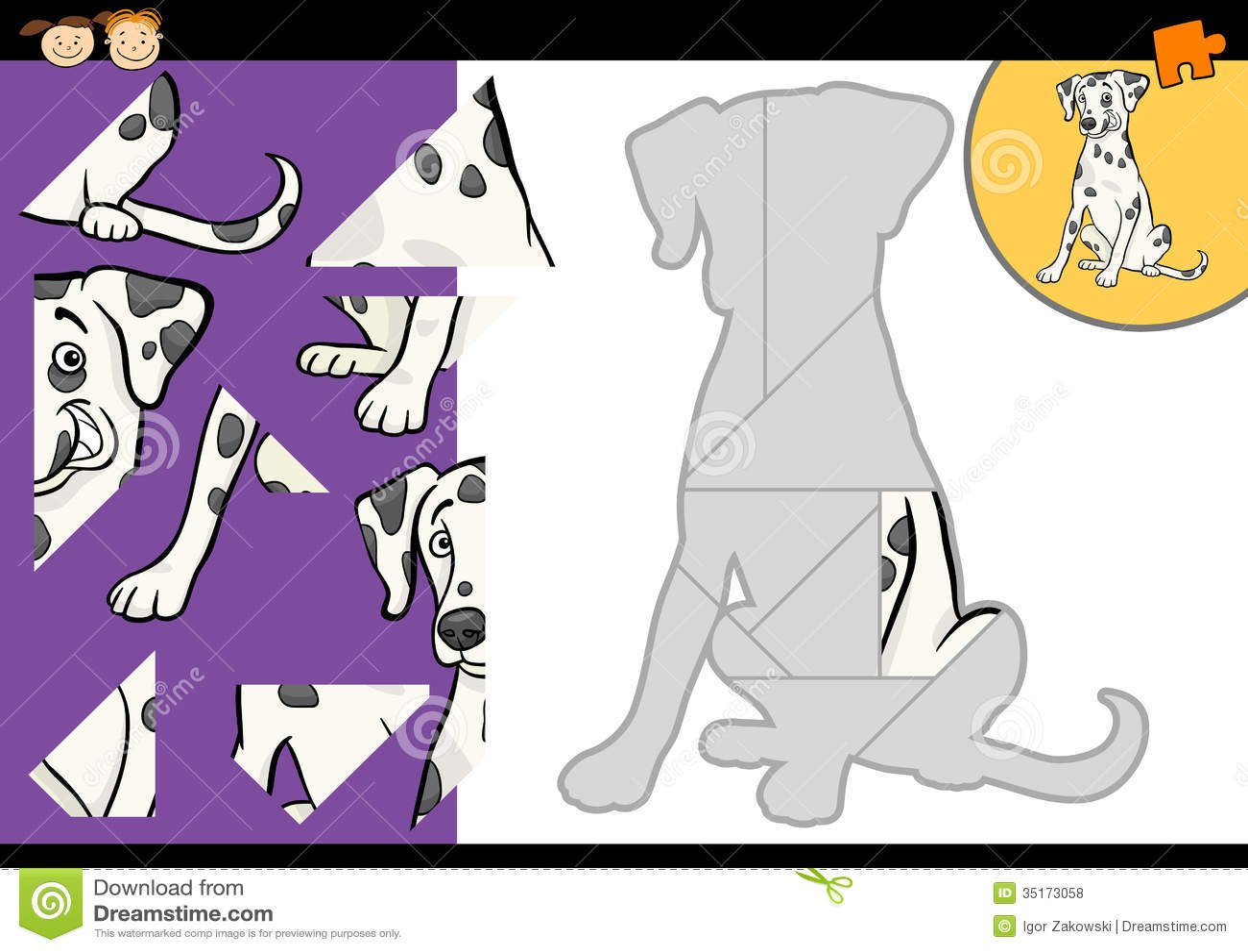 Cartoon Dalmatian Dog Puzzle Game Stock Vector