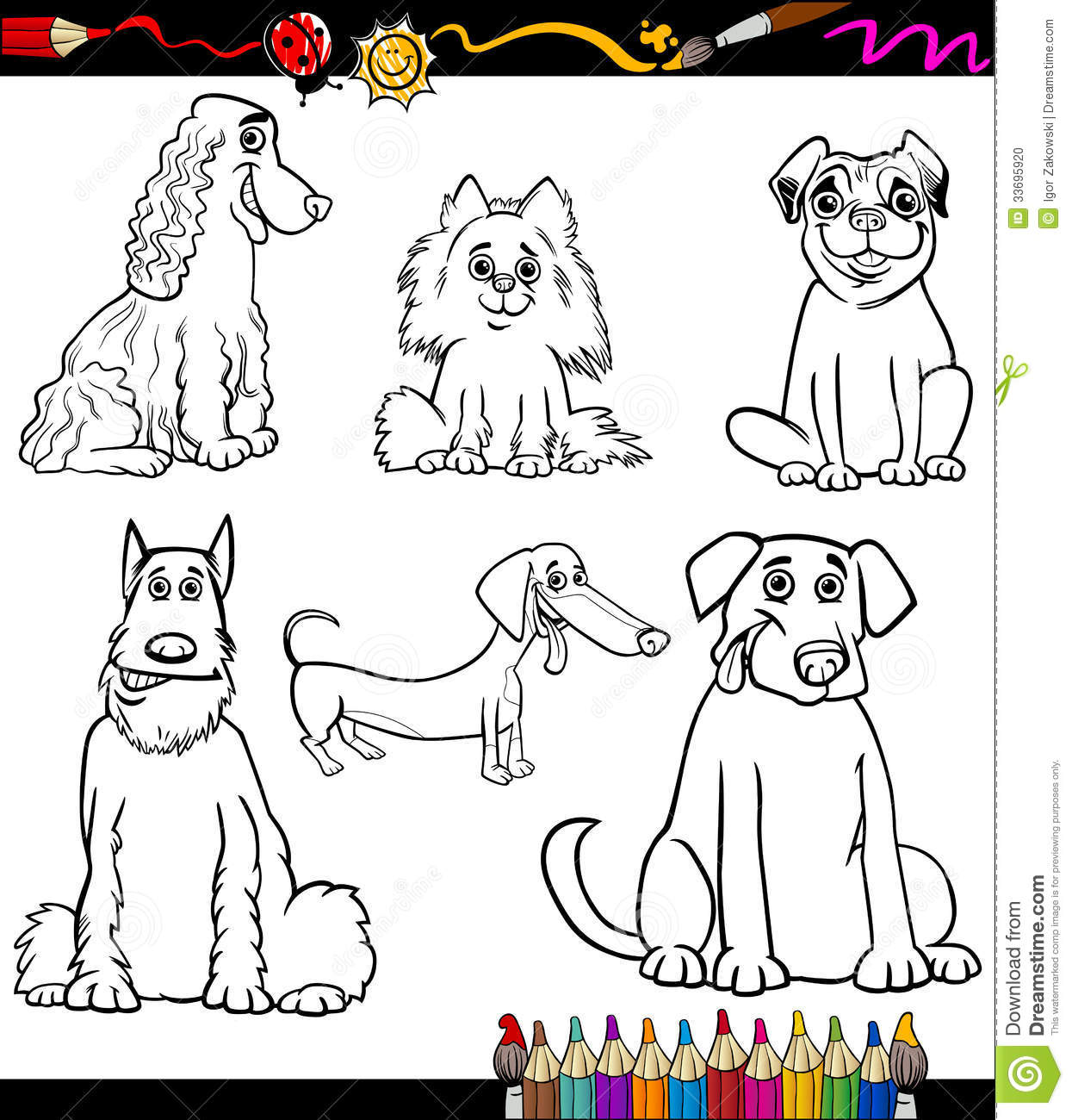 cartoon dog breeds coloring page stock photo image 33695920
