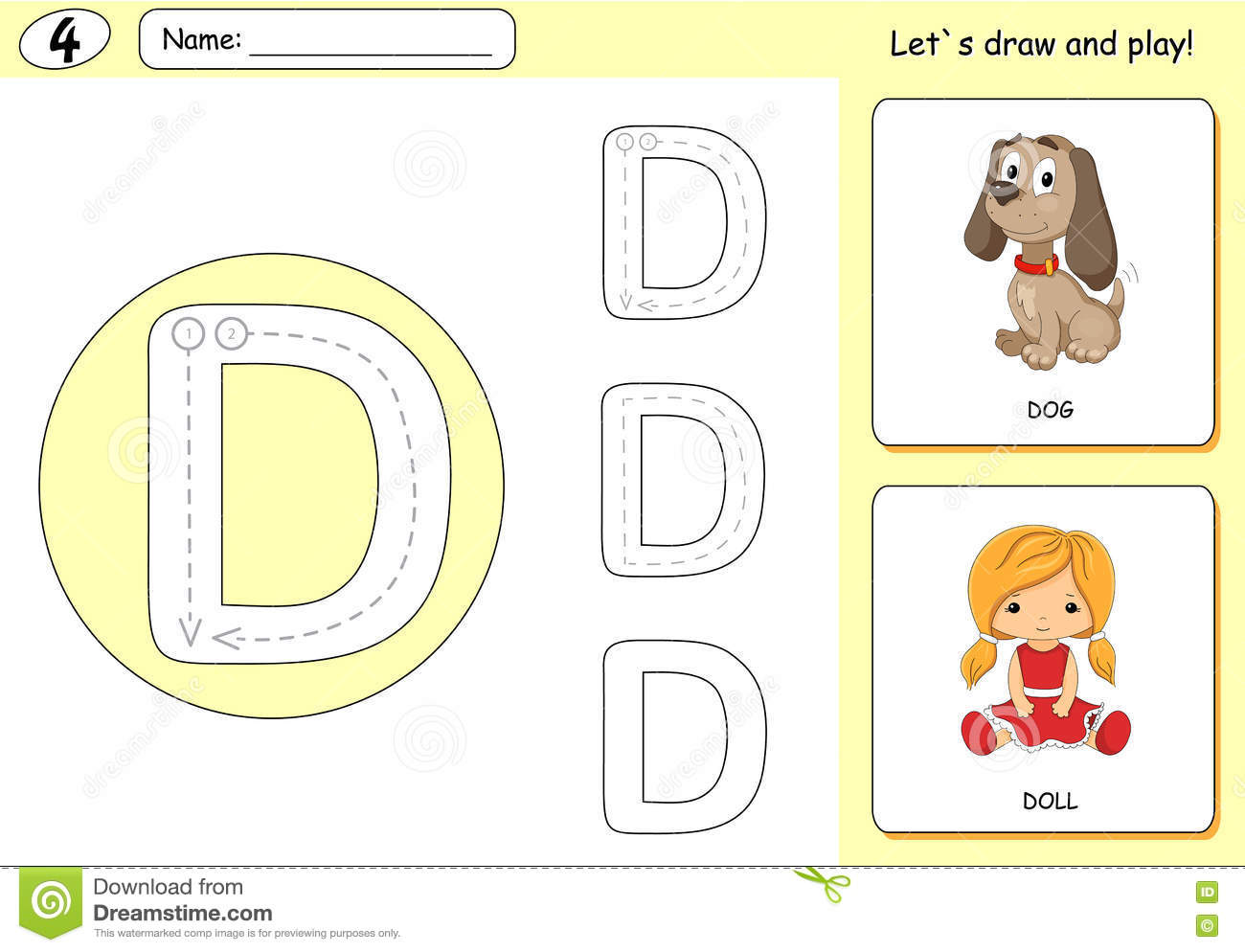 Cartoon Dog And Doll Alphabet Tracing Worksheet Writing A Z An Vector Illustration