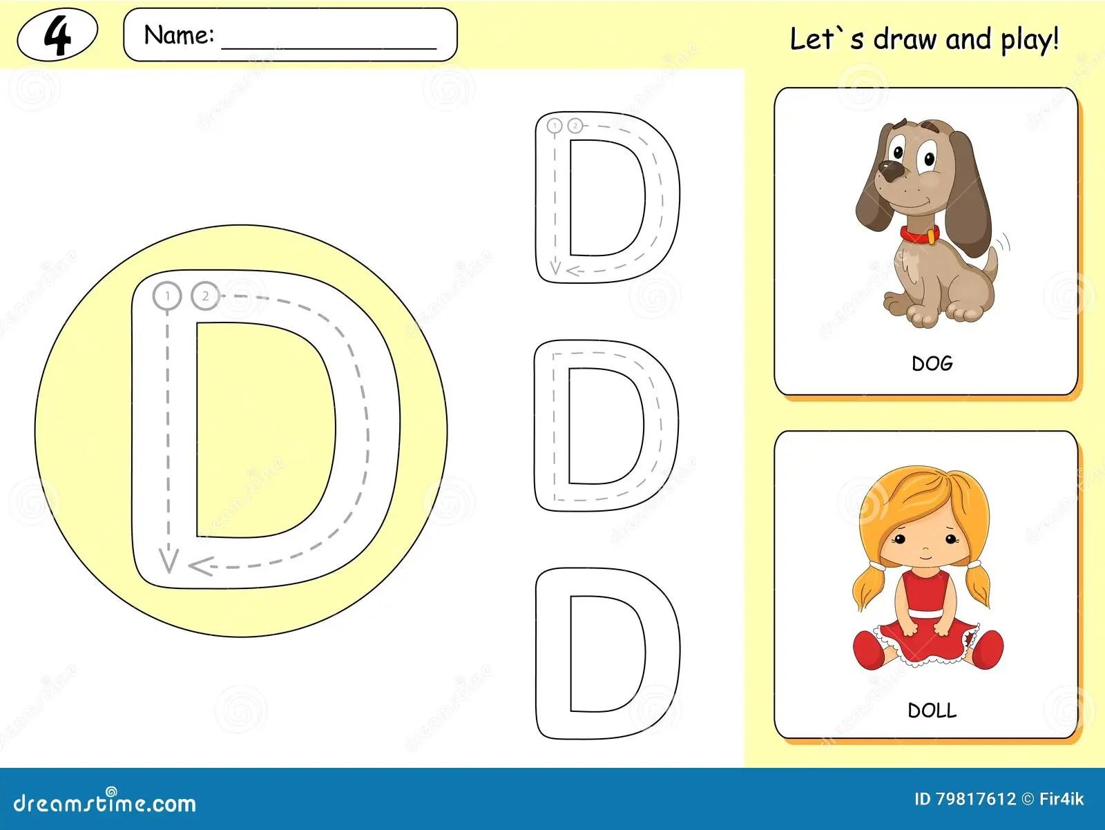 Cartoon Dog And Doll Alphabet Tracing Worksheet Writing