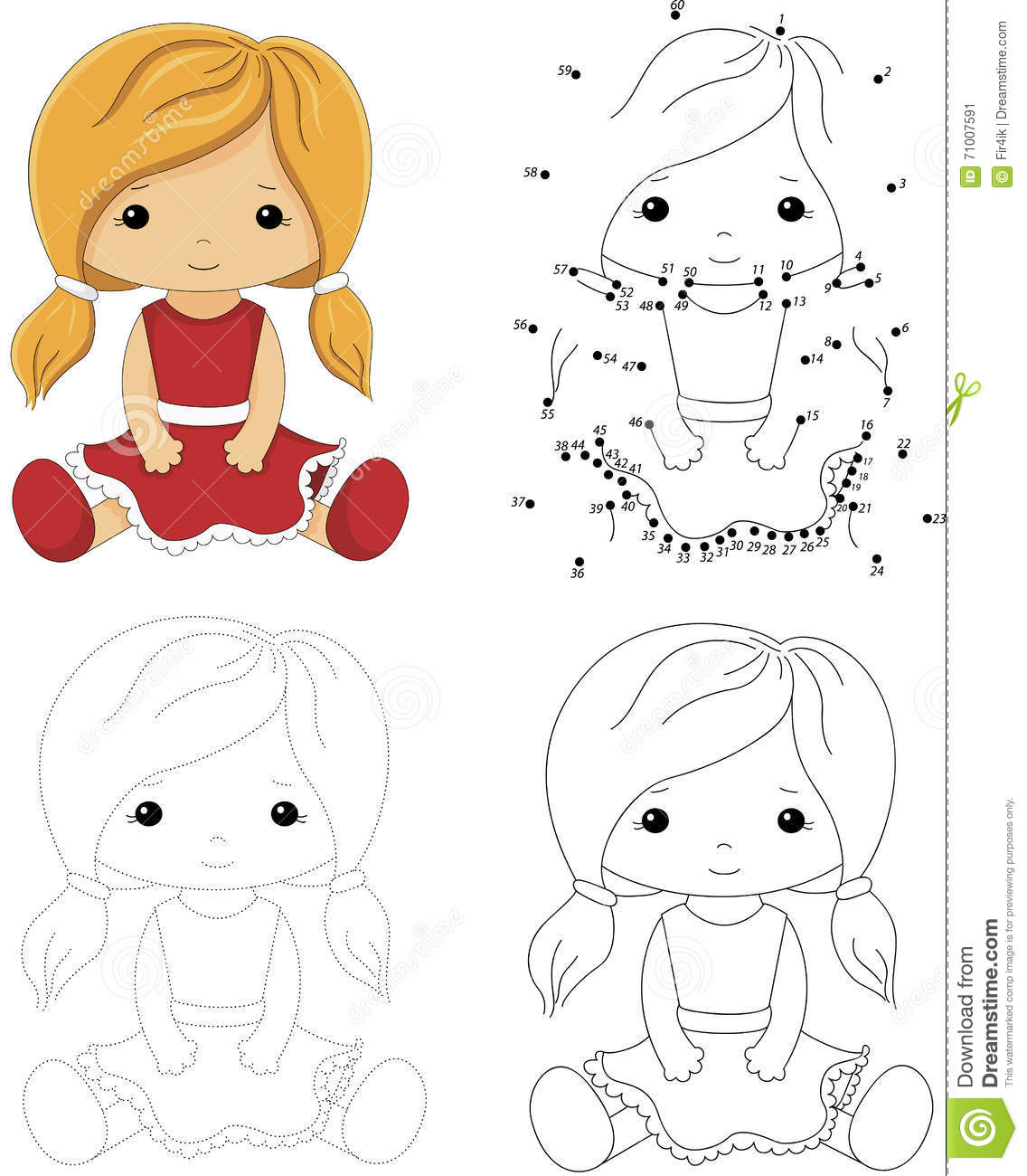 Cartoon Doll In A Red Dress Dot To Dot Game For Kids