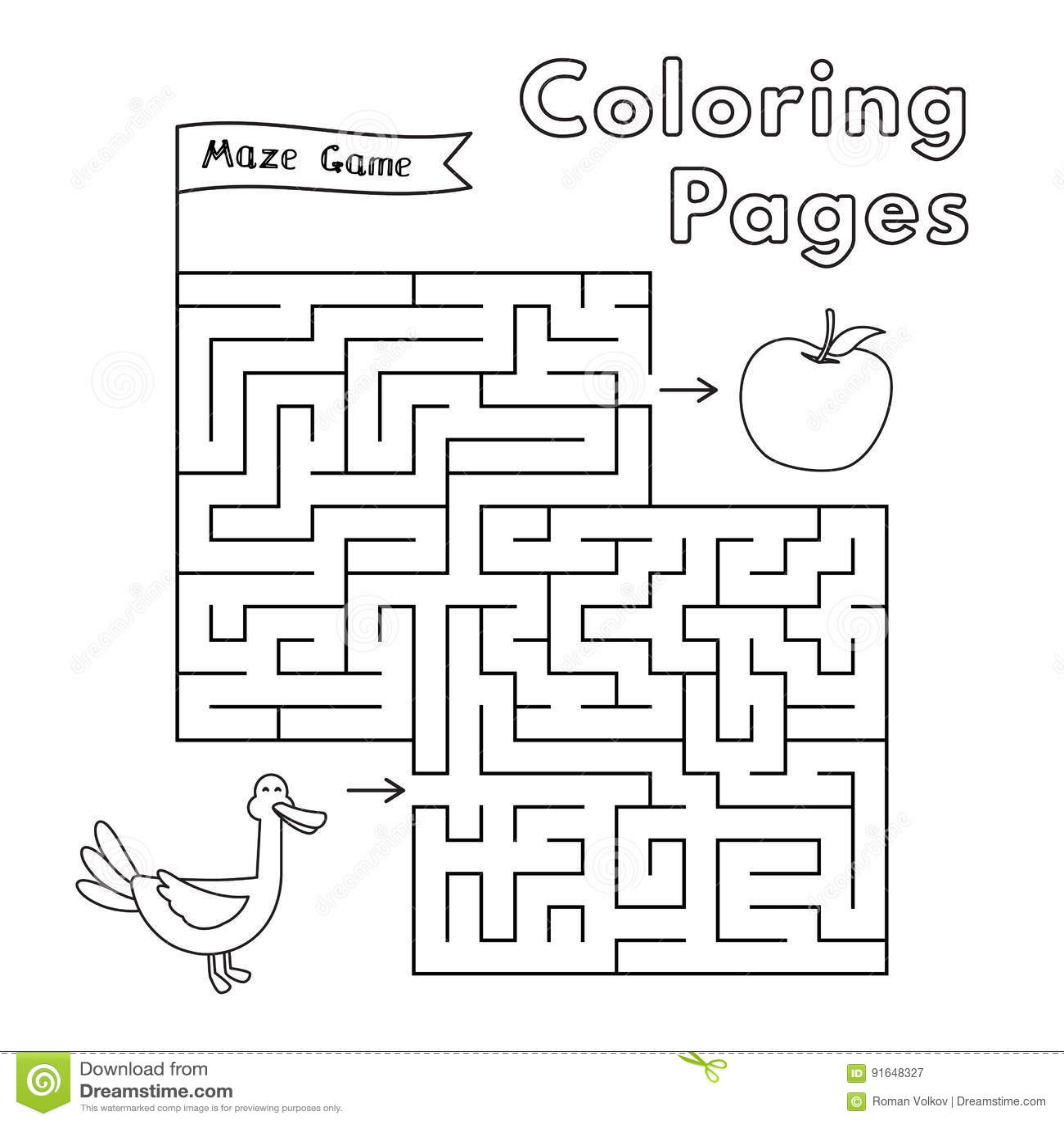 Cartoon Duck Maze Game Stock Vector Illustration Of Line