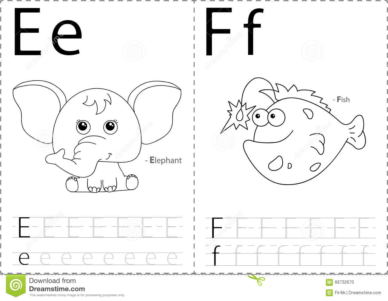 Cartoon Elephant And Fish Alphabet Tracing Worksheet