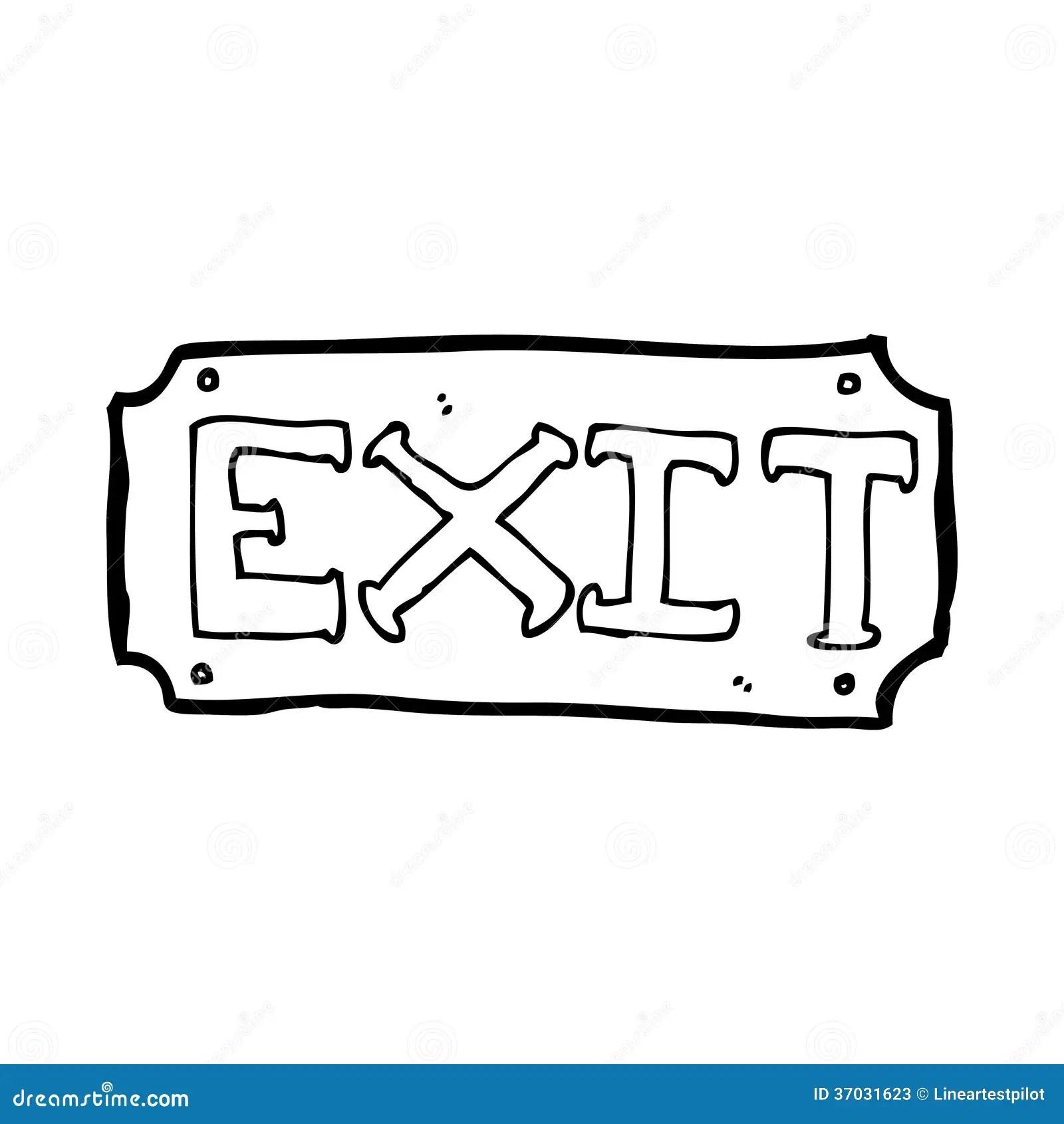 Cartoon Exit Sign Stock Illustration Illustration Of