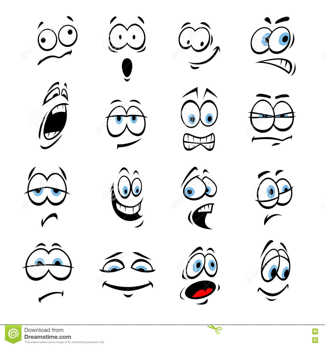 Cartoon Eyes Face Expressions And Emotions Stock Vector
