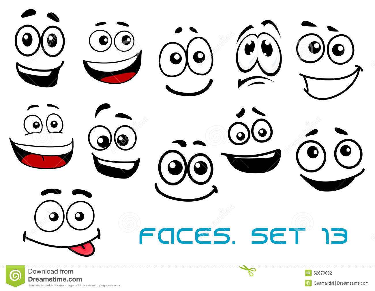 Cartoon Faces With Various Emotions Stock Vector