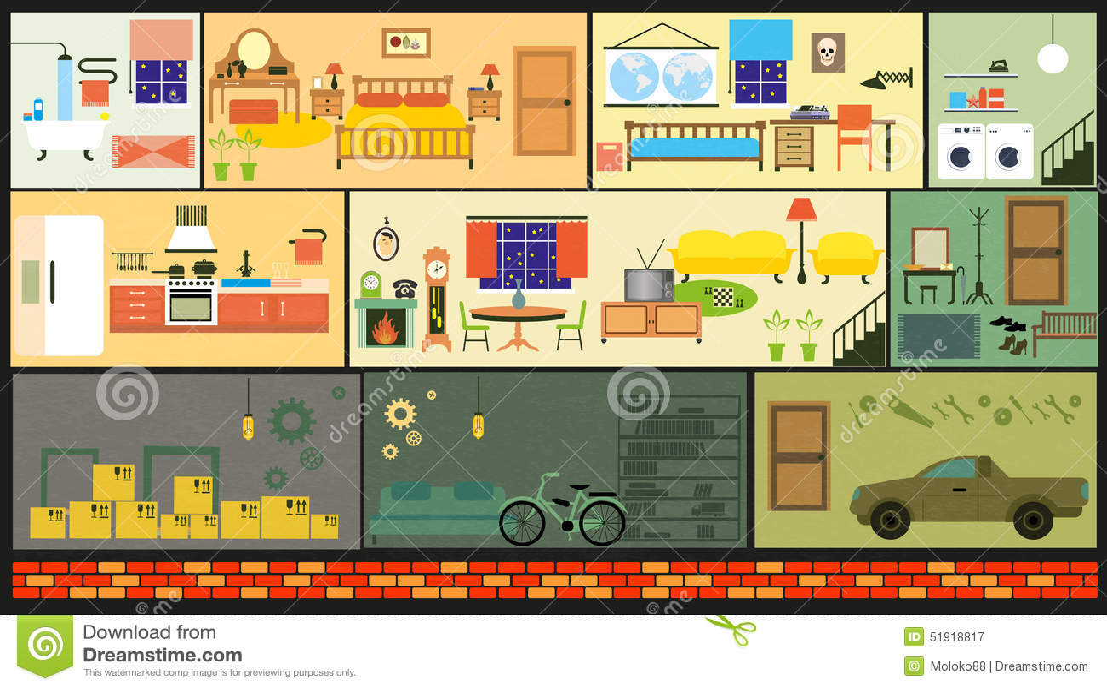 Cartoon Family House Stock Vector