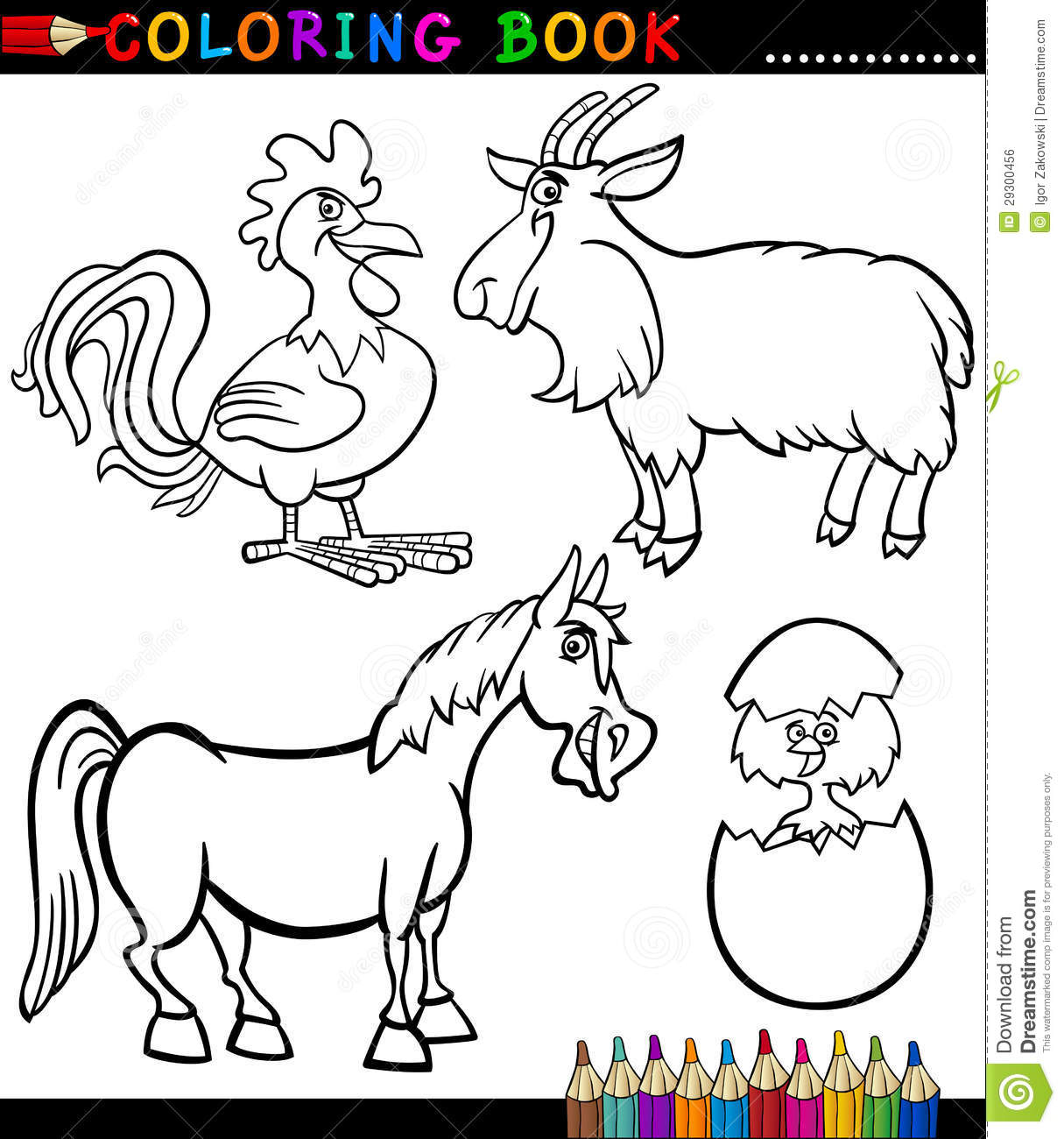 Cartoon Farm Animals For Coloring Book Royalty Free Stock