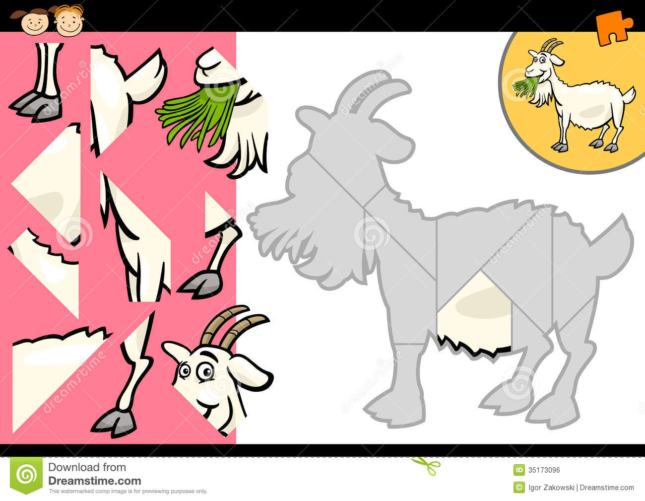 Cartoon Farm Goat Puzzle Game Royalty Free Stock Image