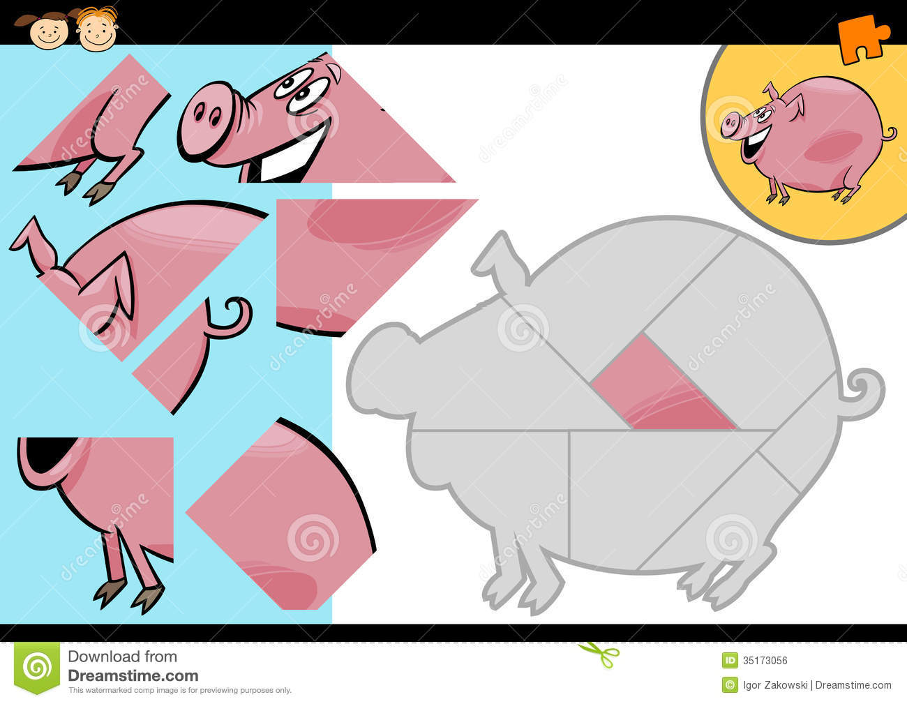 Cartoon Farm Pig Puzzle Game Royalty Free Stock Image