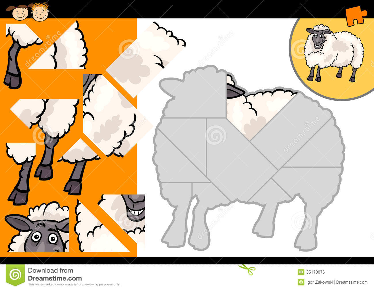 Cartoon Farm Sheep Puzzle Game Stock Vector