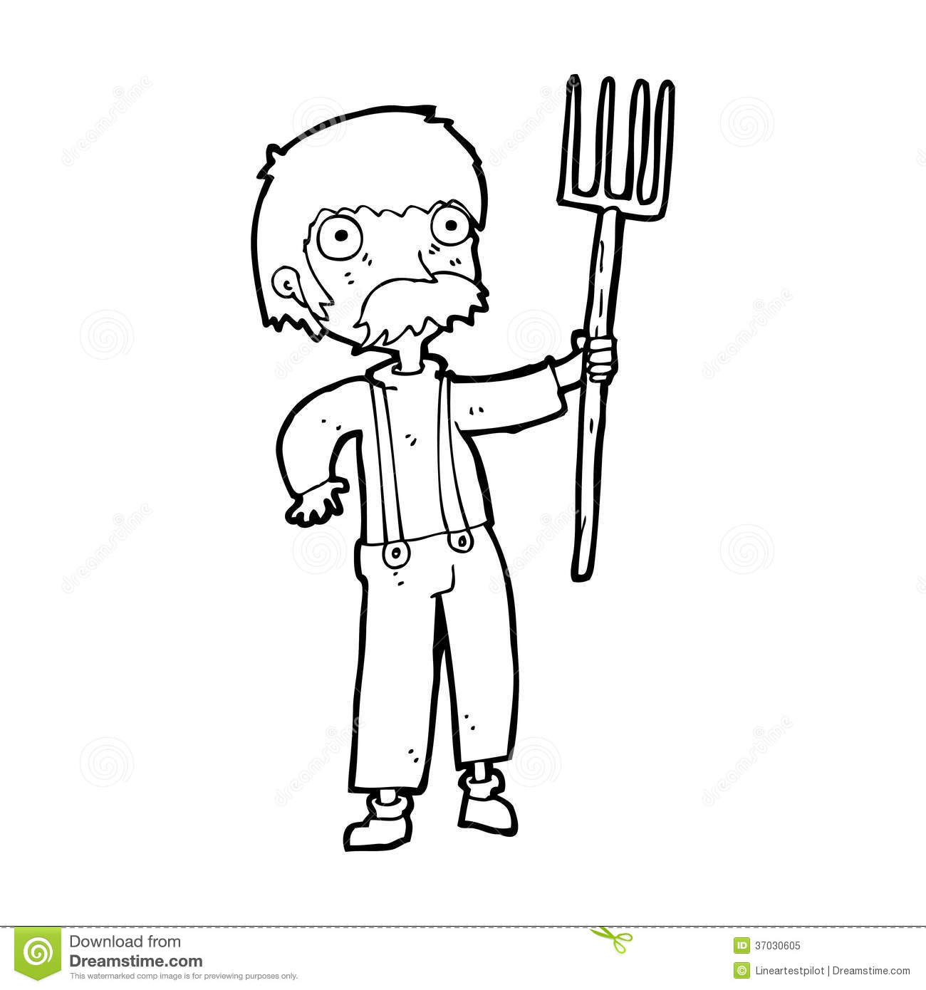 Cartoon Farmer With Pitchfork Royalty Free Stock Photo