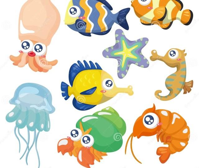Cartoon Fish Collection Icon Set