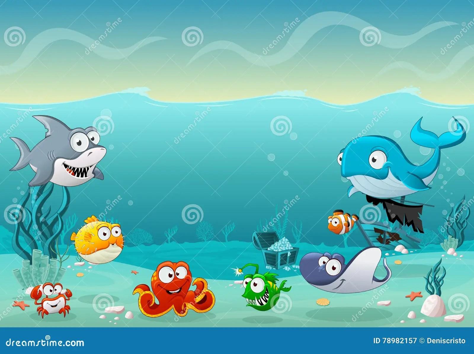 Cartoon Fish Under The Sea Stock Vector