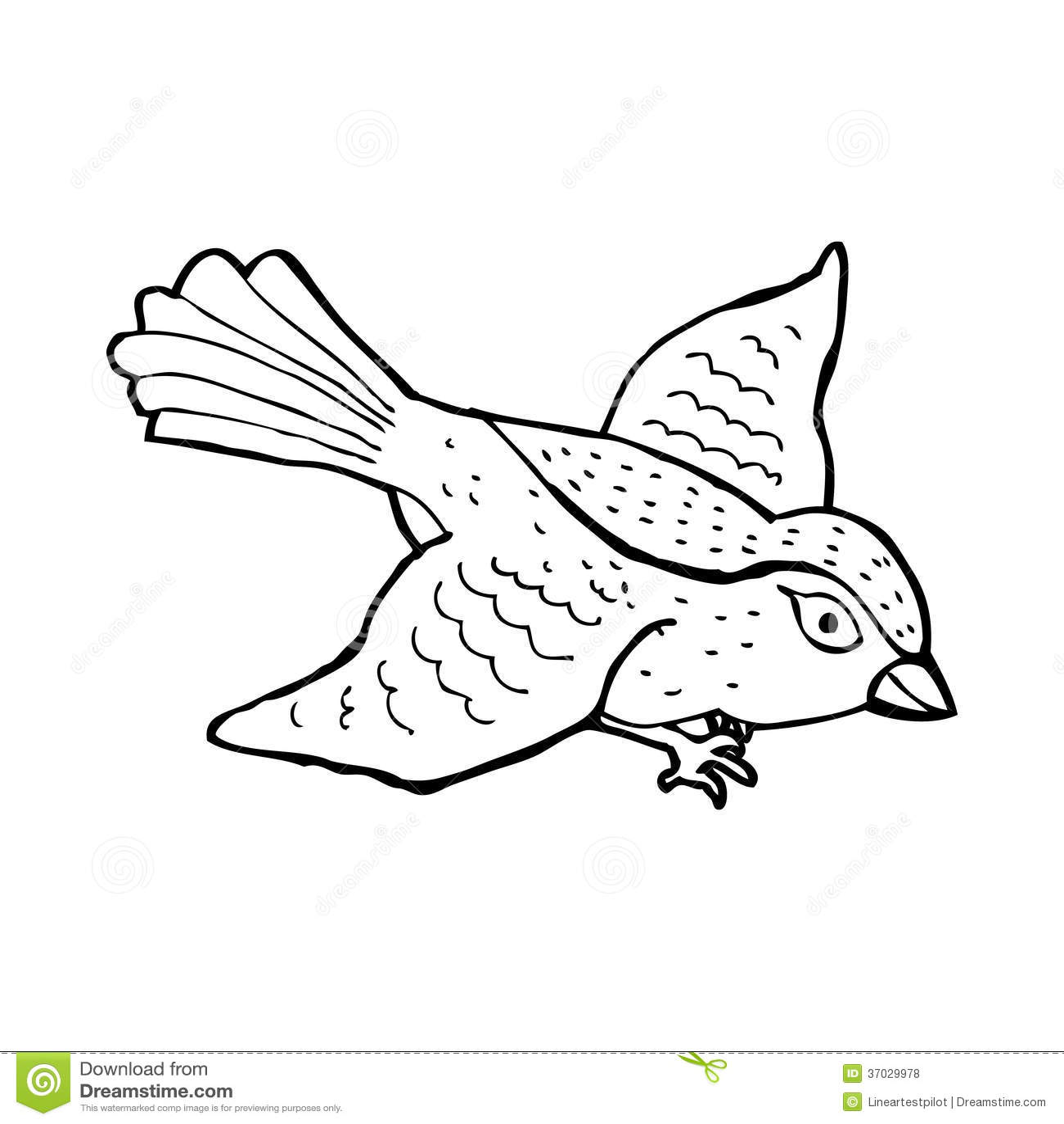 Cartoon Black Bird Flying