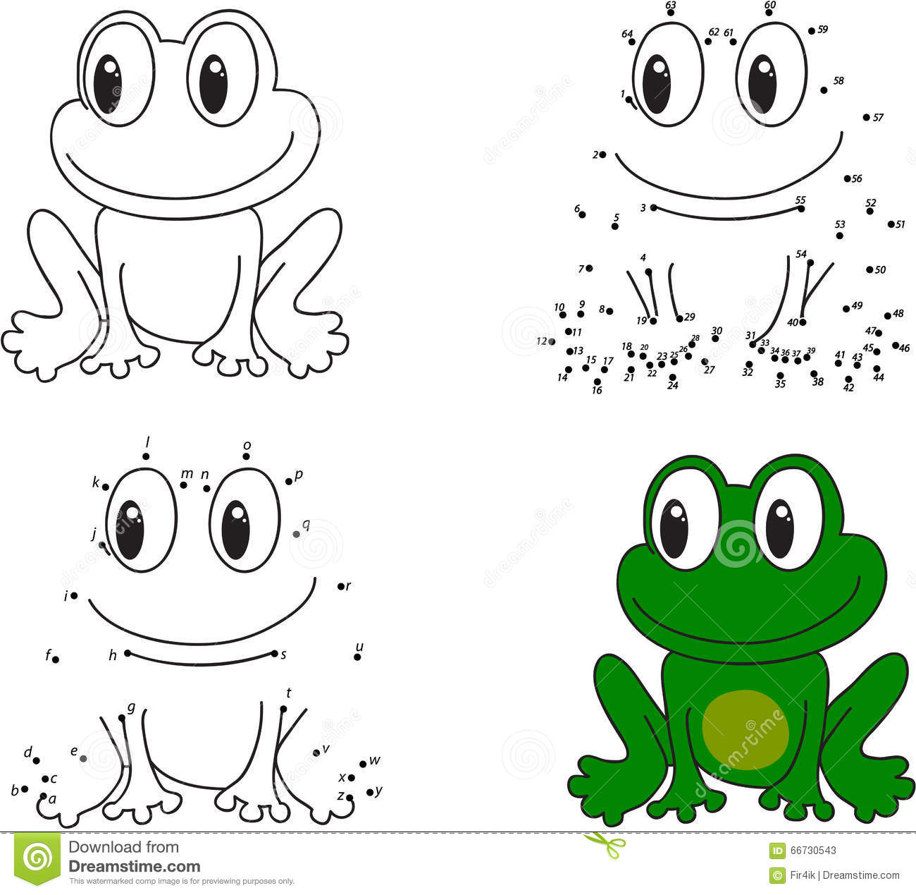 Cartoon Frog Coloring Book And Dot To Dot Game For Kids