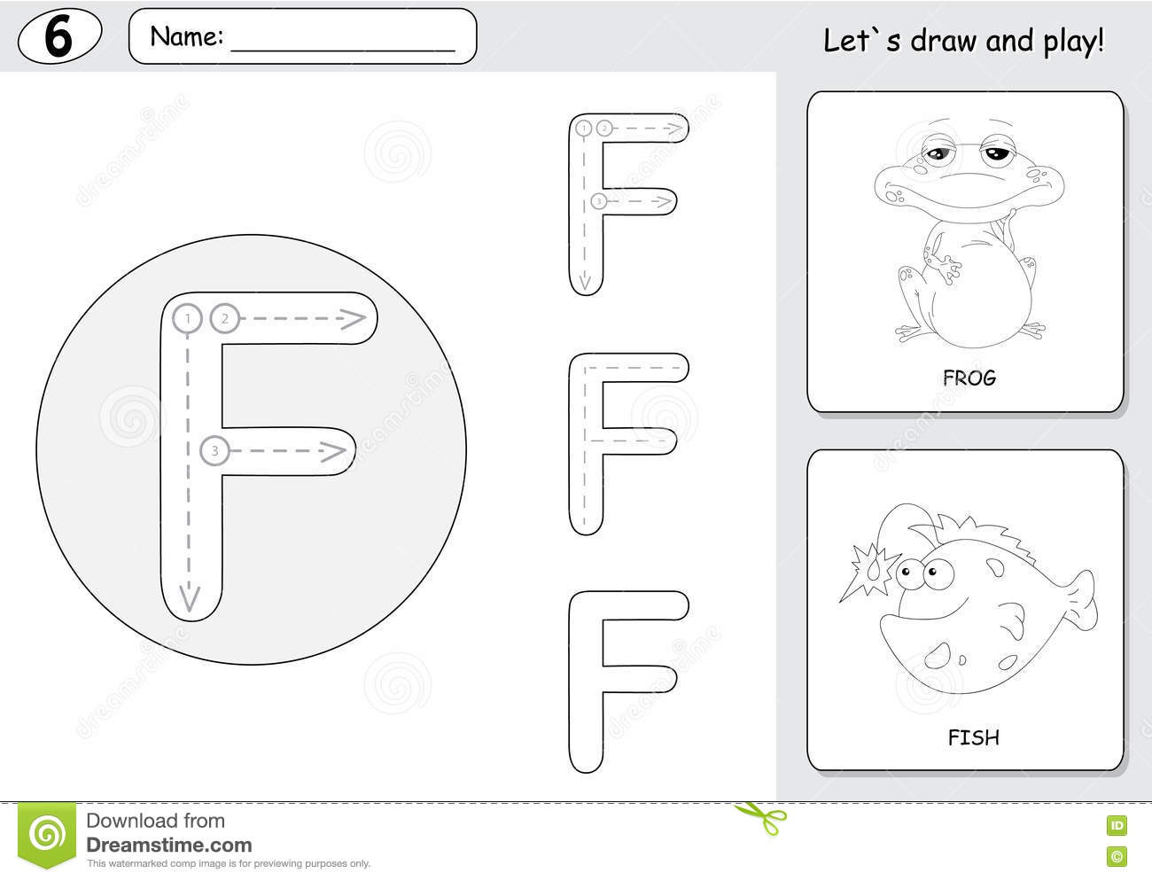 Cartoon Frog And Fish Alphabet Tracing Worksheet Writing A Z A Stock Vector