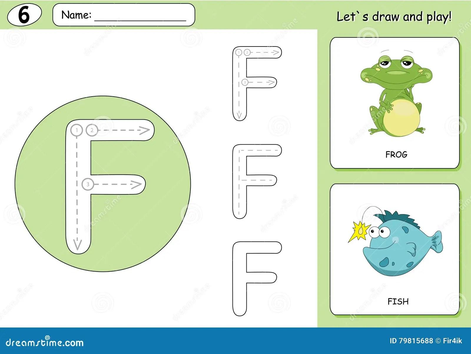 Cartoon Frog And Fish Alphabet Tracing Worksheet Writing