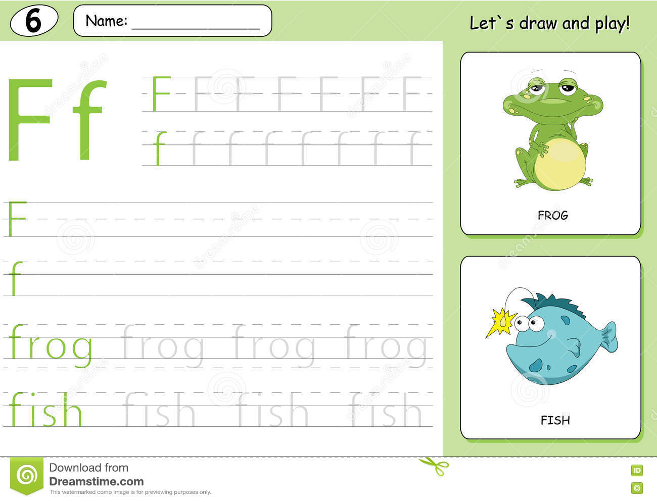 Cartoon Frog And Fish Alphabet Tracing Worksheet Writing A Z Stock Vector