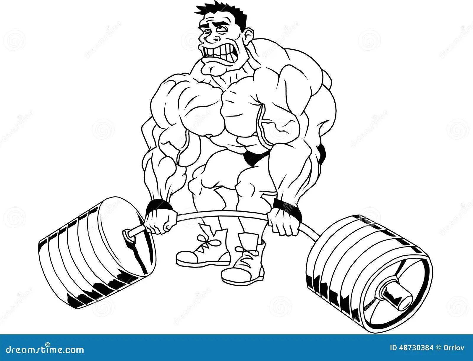 Cartoon Funny Bodybuilder Stock Vector Illustration Of