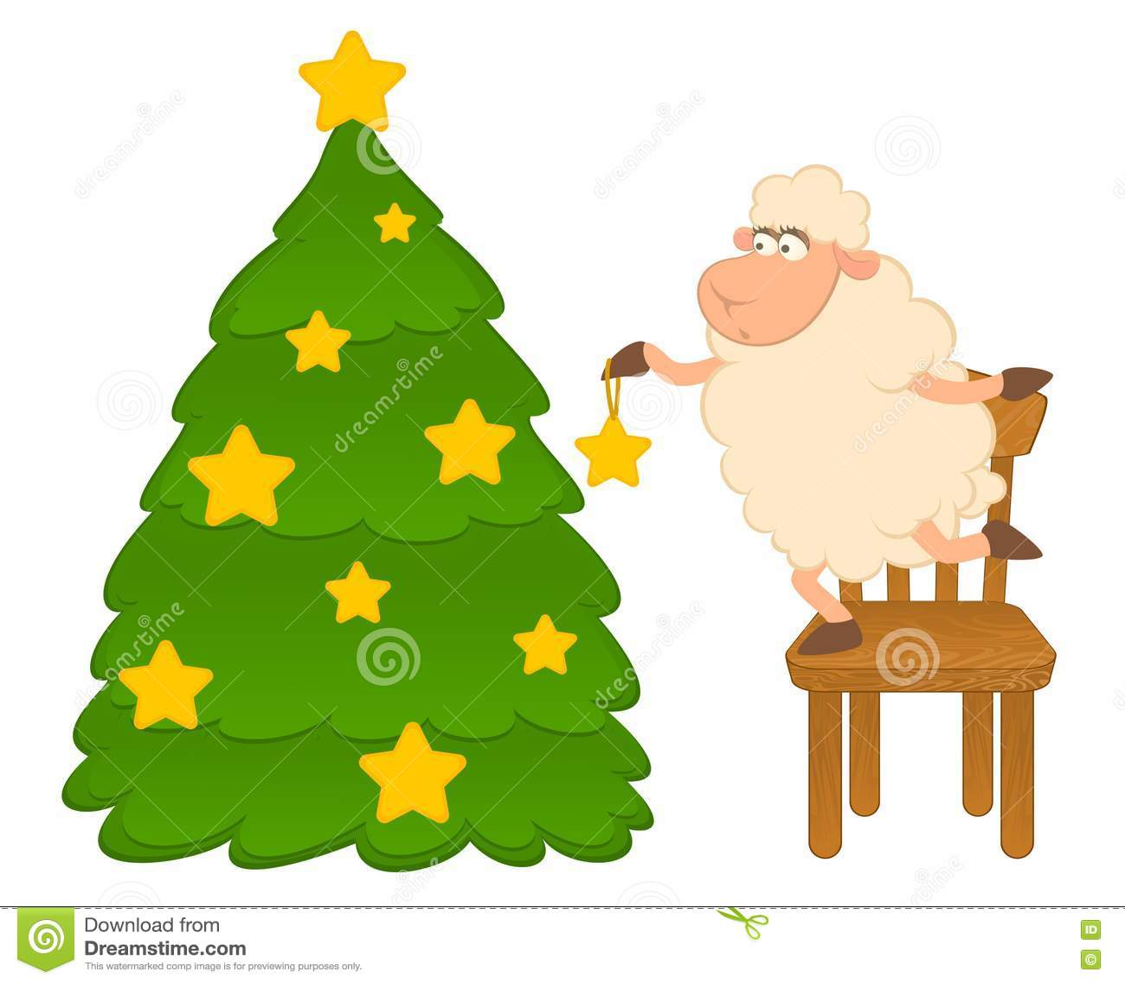 Cartoon Funny Sheep Dresses Up A Fir Tree Stock Vector
