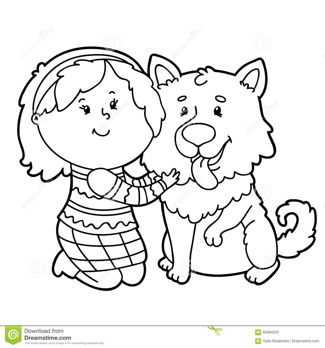 Cartoon Girl And Dog Stock Vector Illustration Of Outline